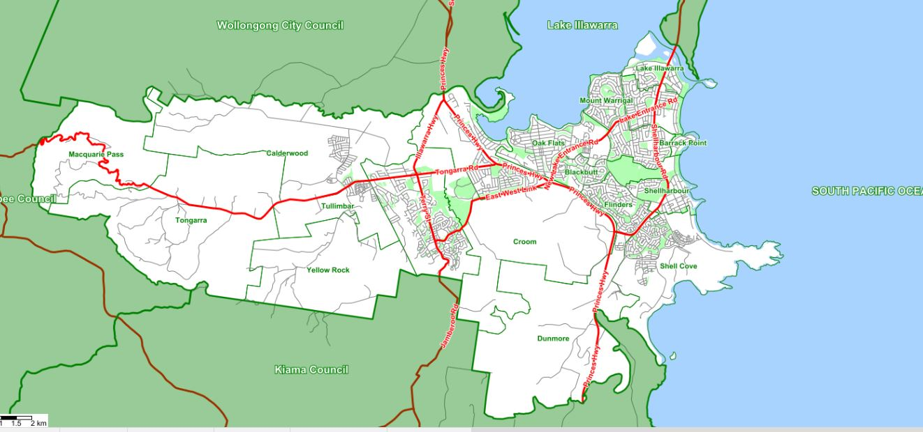 Shellharbour LGA boundary map