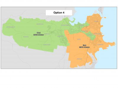 Option 4 - 2 wards represented by 4 councillors in each ward