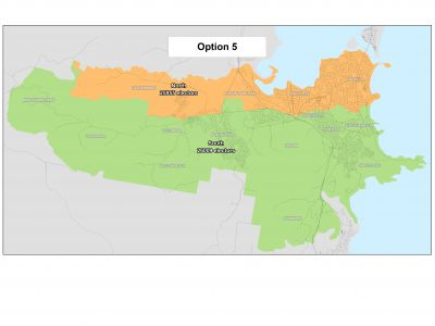 Option 5 - 2 wards represented by 4 councillors in each ward