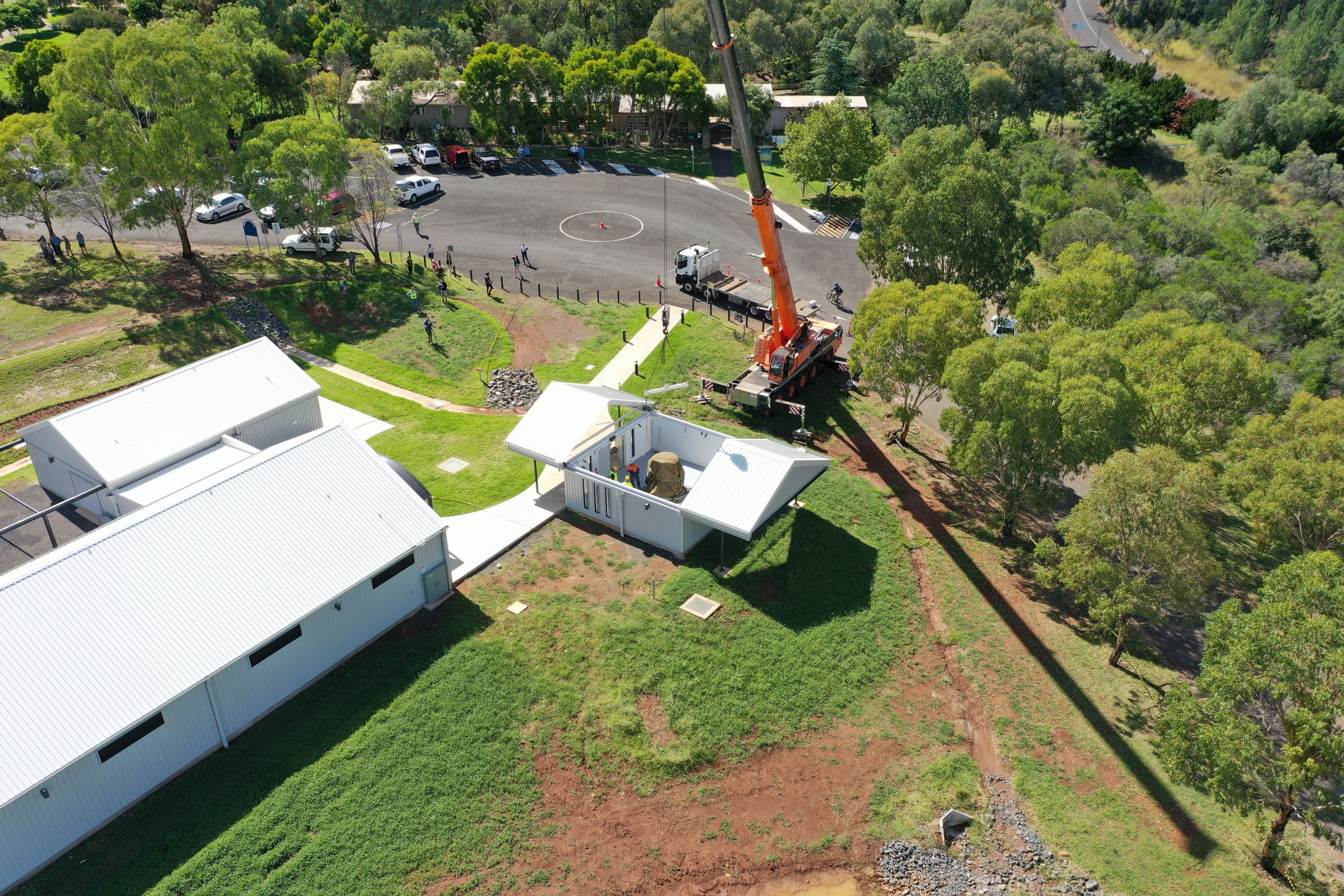 The Hewitt Telescope lifted in via crane on Wednesday 10 March