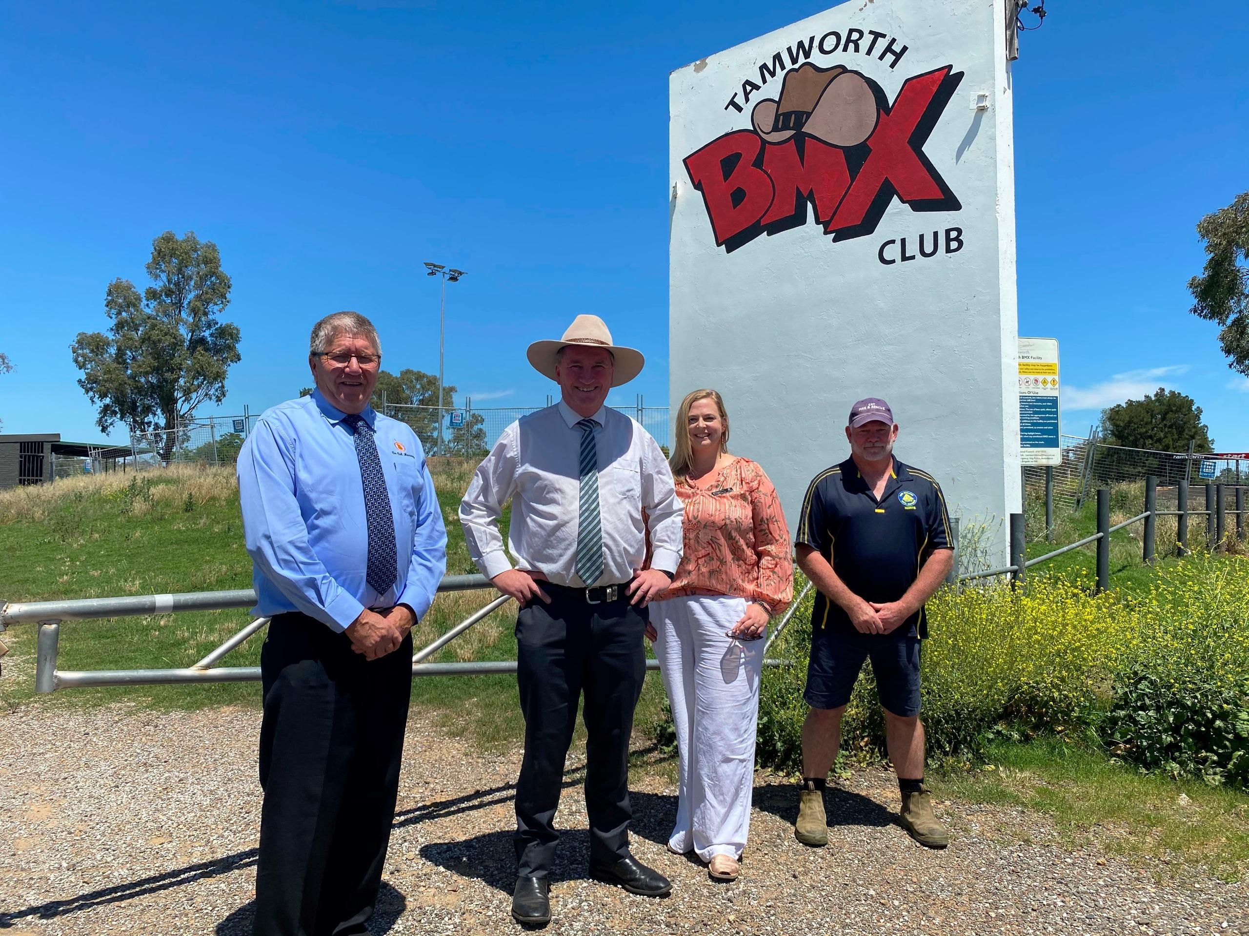 Tamworth Region Mayor Col Murray, Federal Member for New England Barnaby Joyce, Tamworth BMX Club Secretary Emma Cooper and Brett Morris