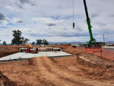 New winton road 5 cell culvert units being installed