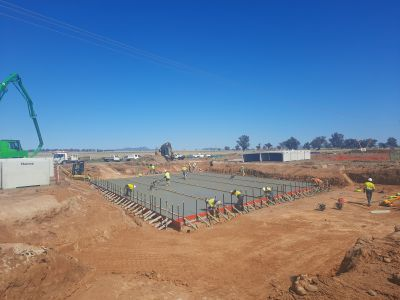 New winton road 5 cell culvert base slab poured and being finished