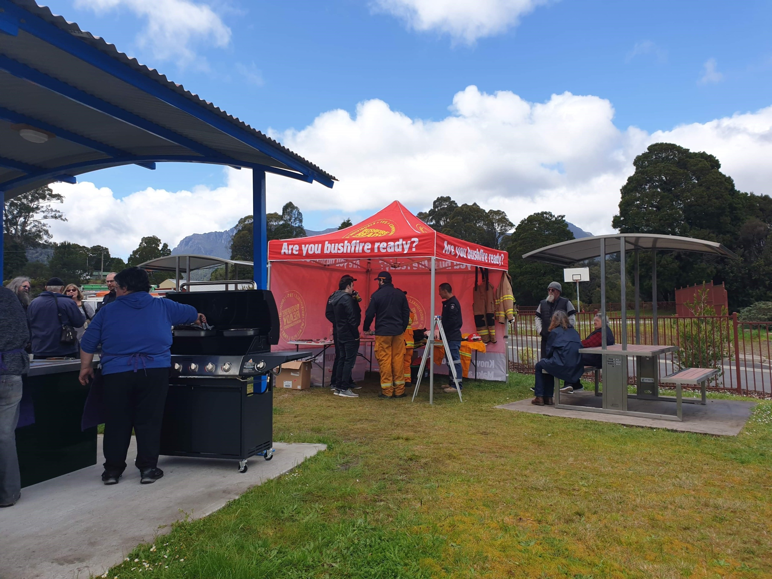 community members getting bushfire -ready info at marquee