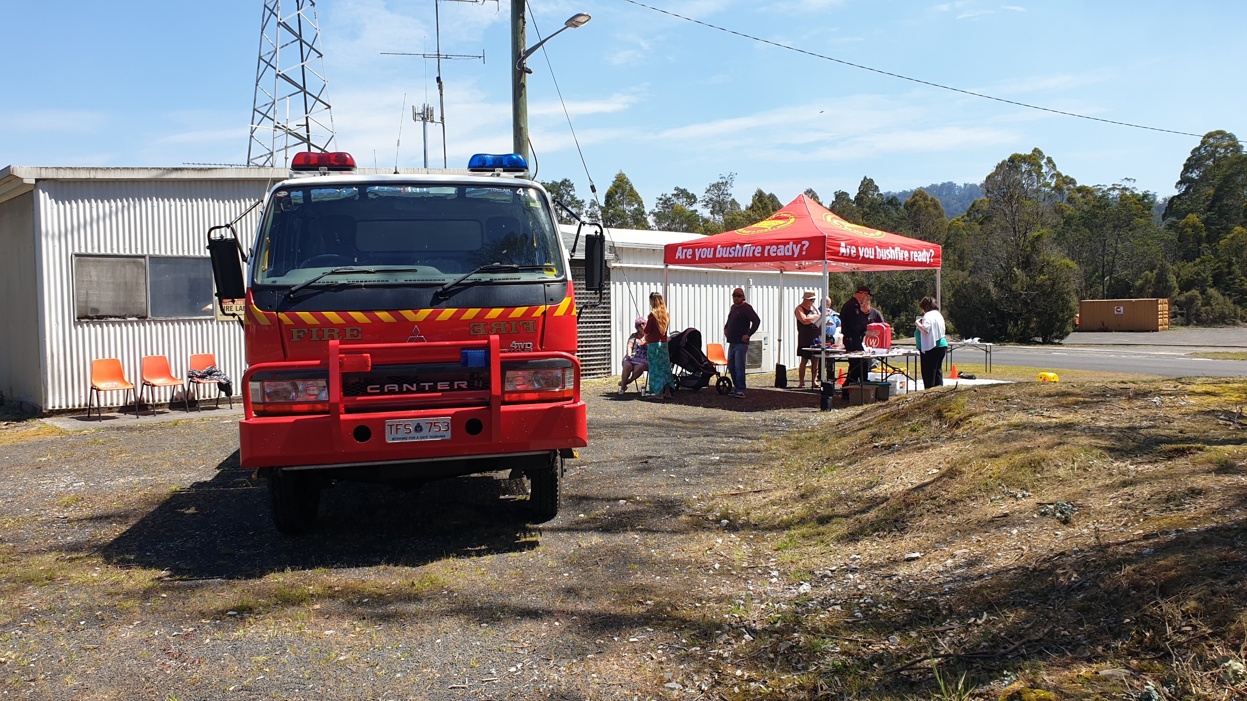 gazebo and fire truck at Tullah Fire Station