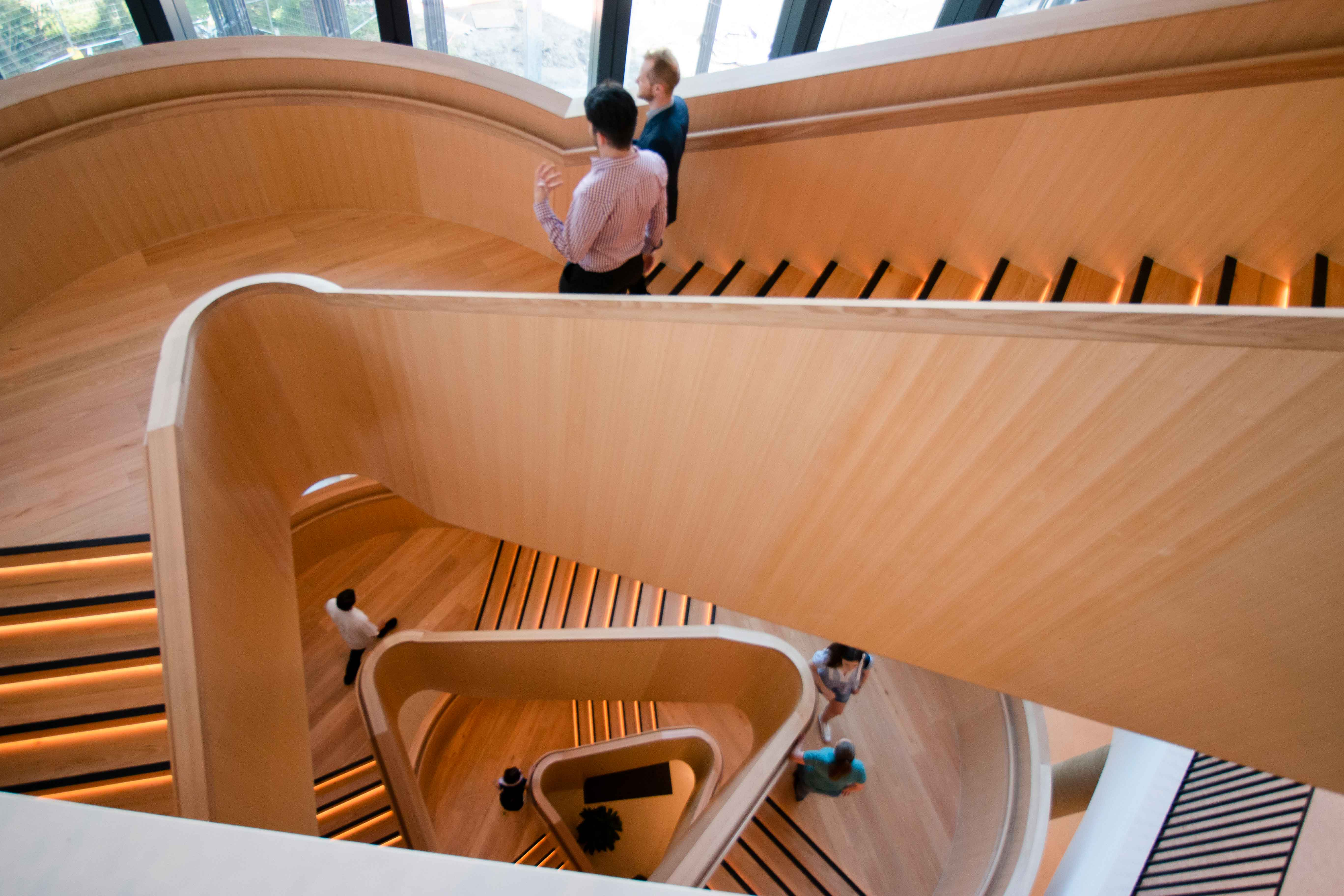 Wooden staircase demonstrating modern architectural design.
