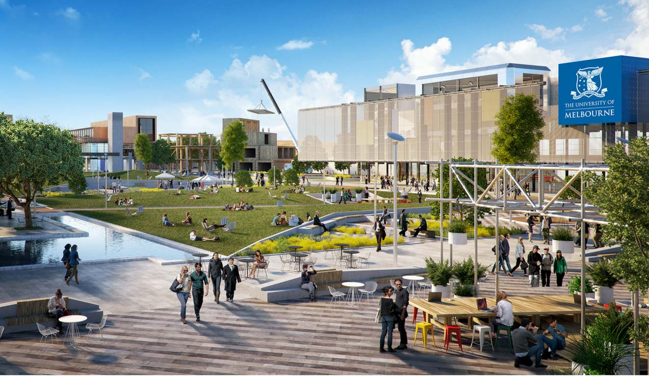 An architectural drawing of the Fishermans Bend engineering campus with green grass, individuals socialising in informal outdoor settings, the campus is lively.