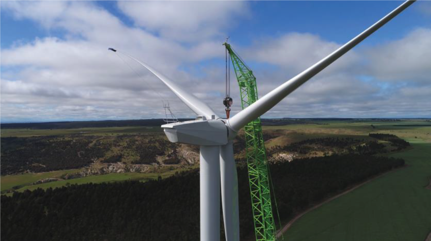 image of wind turbine under construction