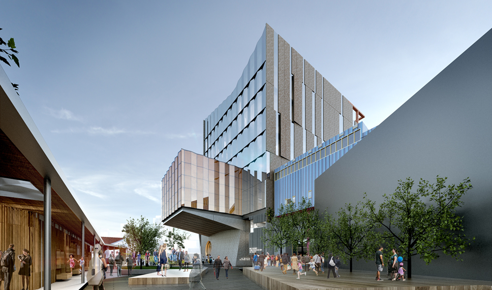 render image of new Ian Potter Southbank Centre and adjoining linear park