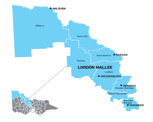 Map of Loddon Mallee Waste and Resource Recovery Region