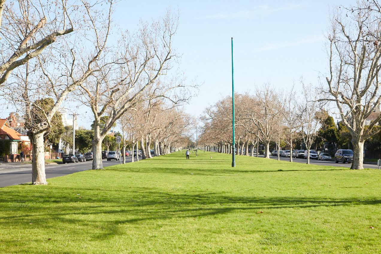 Existing view of Kerferd Road central reserve looking south