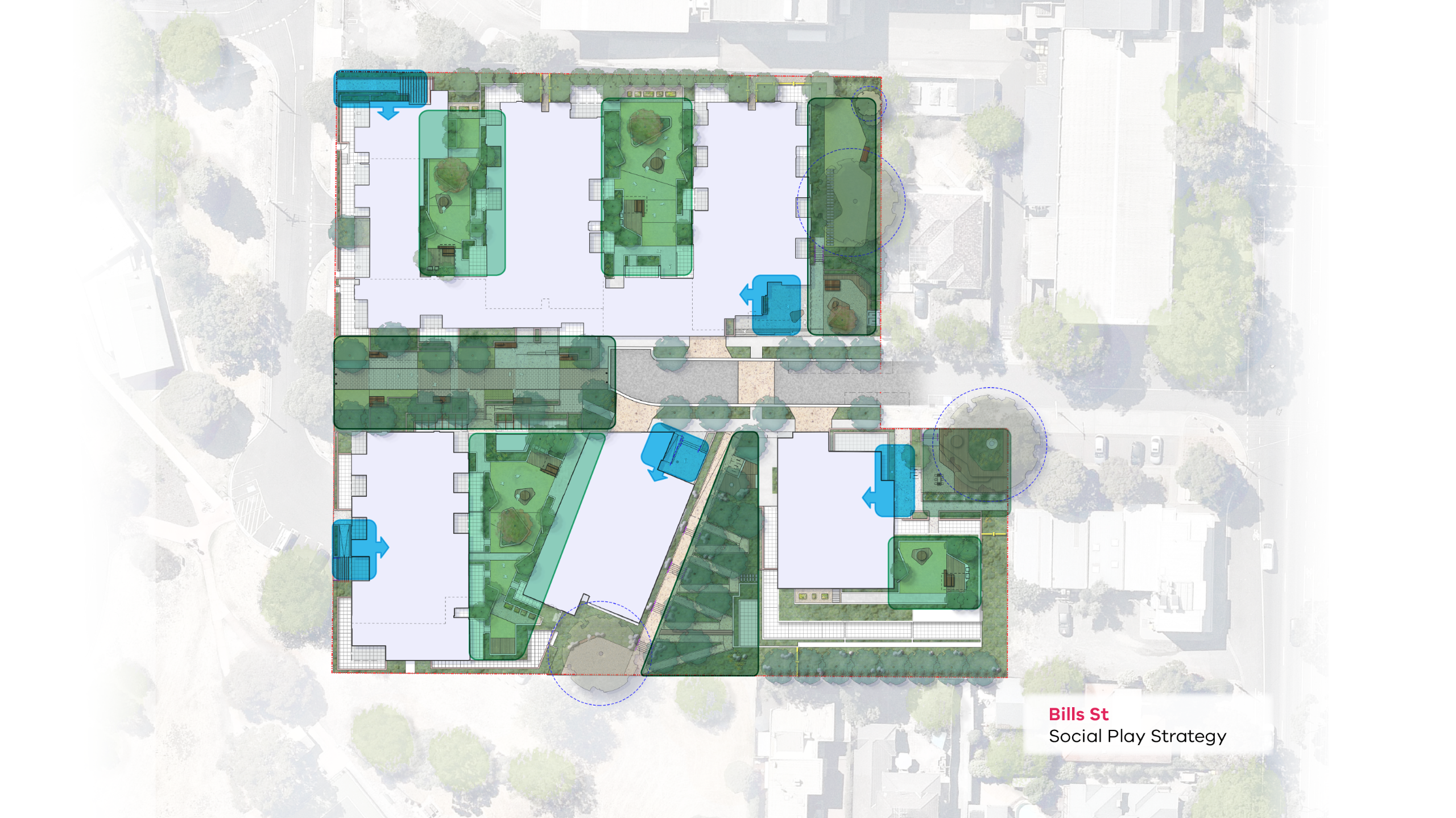 Map showing the locations of the different social play areas within the Bills Street redevelopment public spaces.
