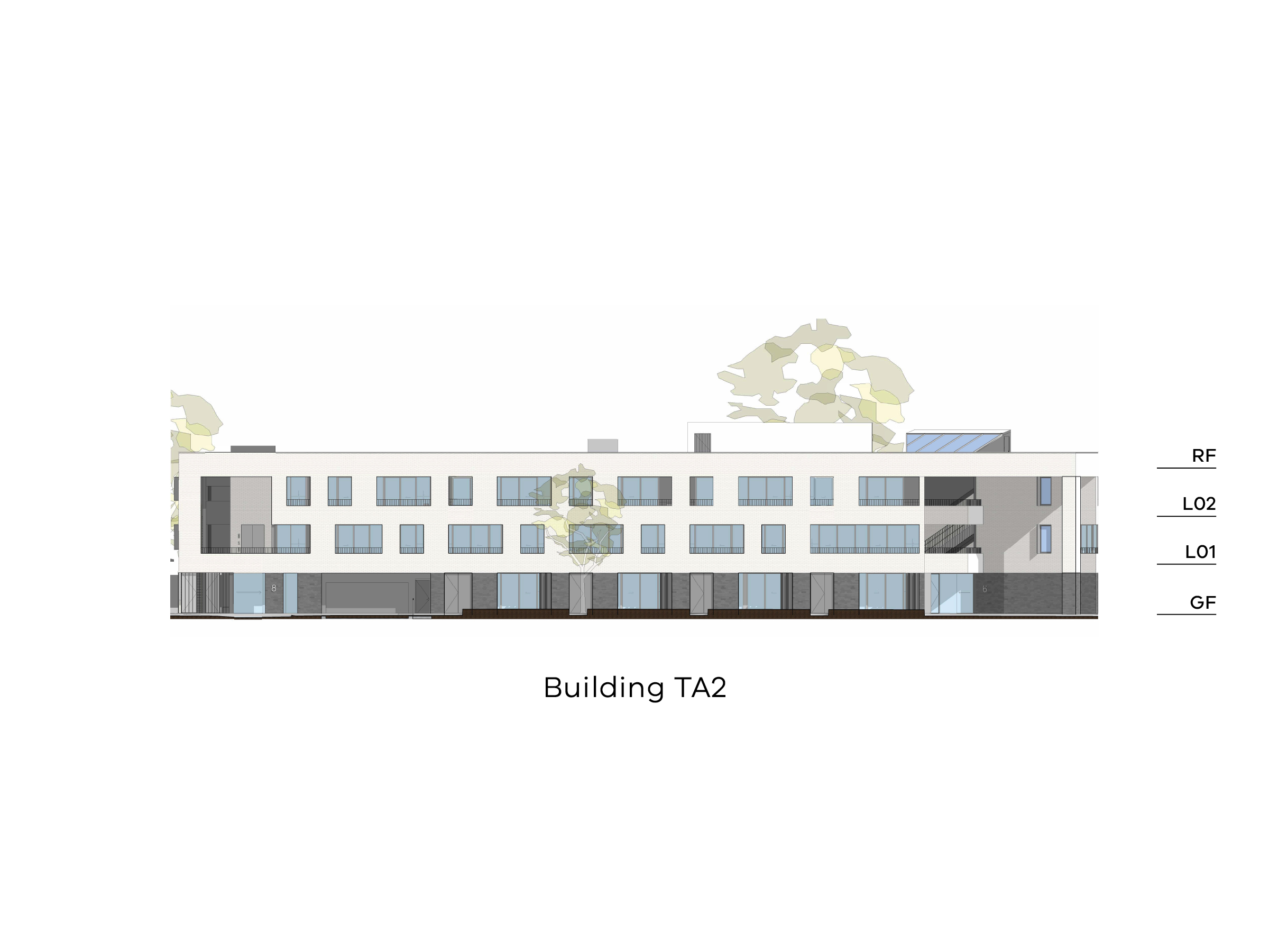 Diagram showing the height of the northern part of building TA2 as seen from Tarakan Street. Building TA2 has a ground floor, level 1-2 and a flat roof.
