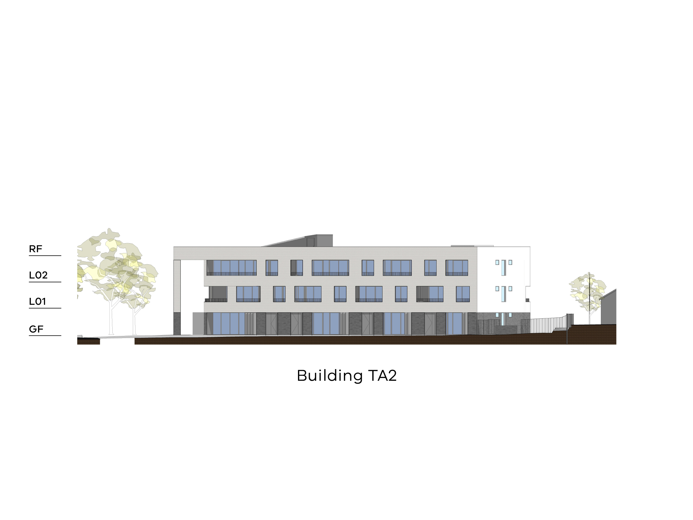 Diagram showing the height of the southern part of building TA2 as seen from the on-site park looking towards Tobruk Avenue. Building TA2 has a ground floor, level 1-2 and a flat roof.