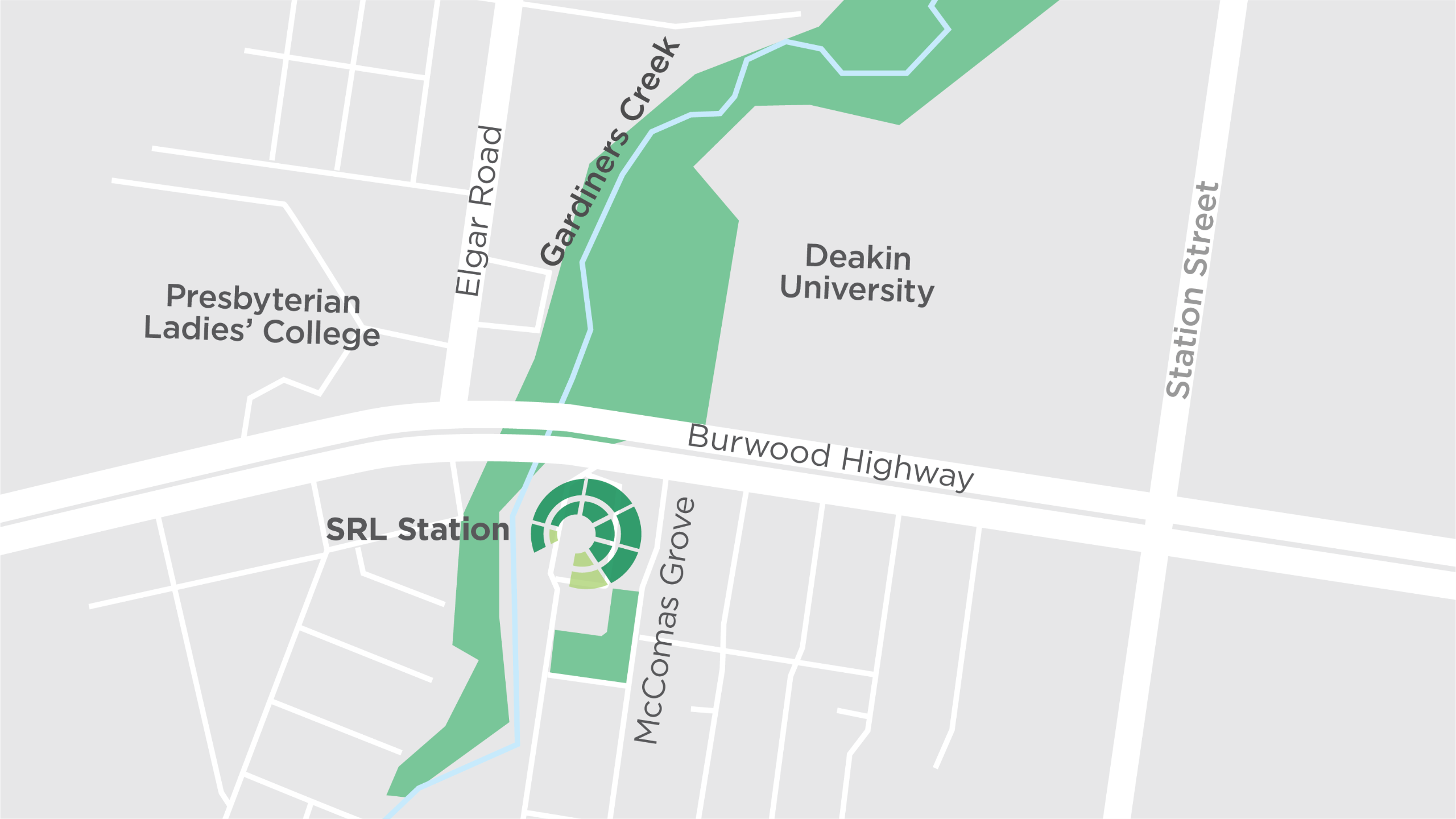 This map shows the new Suburban Rail Loop underground train station at Burwood, proposed to be located adjacent to Deakin University.