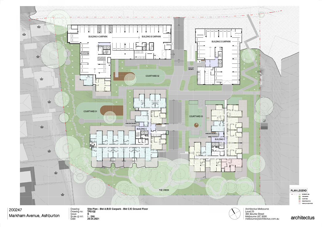 There are 5 buildings shown on this plan. Carpark plans for Buildings A, B and D to the North and Ground Level Plans for Buildings C and E to the South.  Building A and B have a combined carpark with the entry into the carpark located off the central accessway.  There are 2 apartments located to the south of building A and faces Courtyard 1. Building D to the eastern side of the site has a carpark that is accessed via the southern end of the building.  The main pedestrian entry to Building D is located on this carpark level and accessed via the central accessway.  Building C Ground Level is showing a mix of 1 bed and 2-bedroom apartments. There is a mix of 1- and 2-Bedroom apartments on Ground Floor Building C Building E has its main entry located centrally with entry doors to the west facing Courtyard 3. There is a mix of 1,2- and 3-Bedroom apartments on this Ground Floor Building E.
