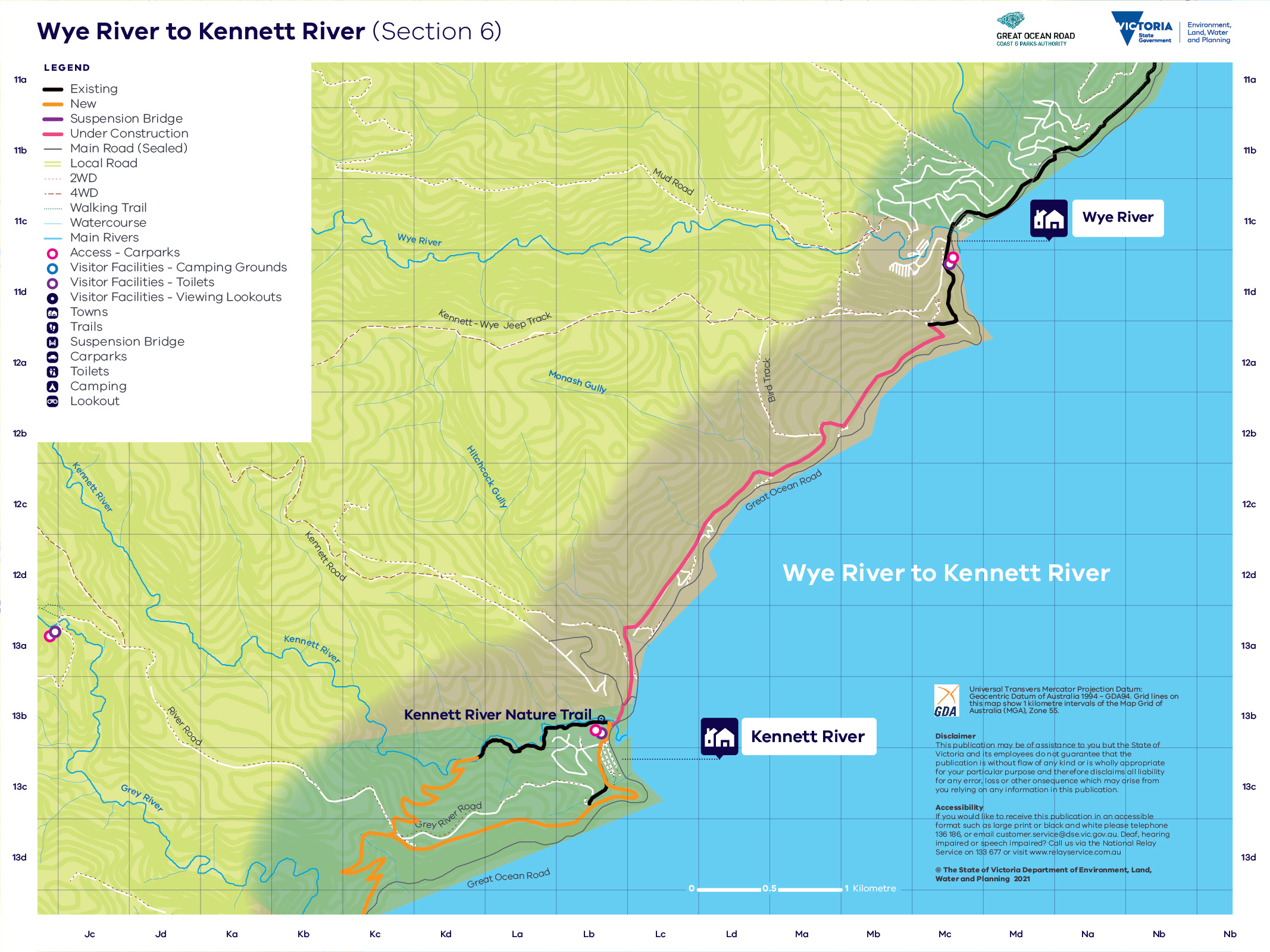 Map showing trail route for section 6 from Wye River to Kennett River