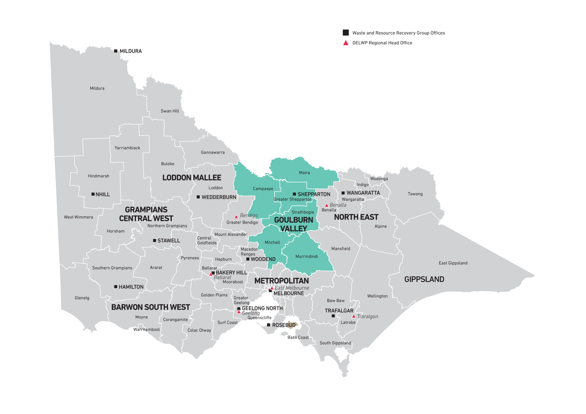 Map of Goulburn Valley Waste and Resource Recovery Region
