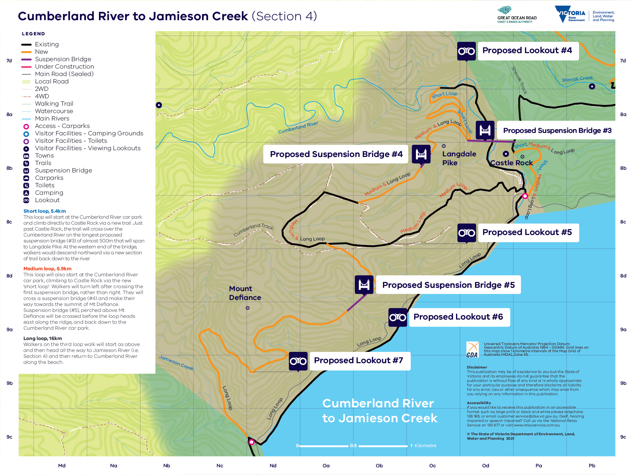 Map showing the route for trail section 4 from Cumberland River to Jamieson Creek