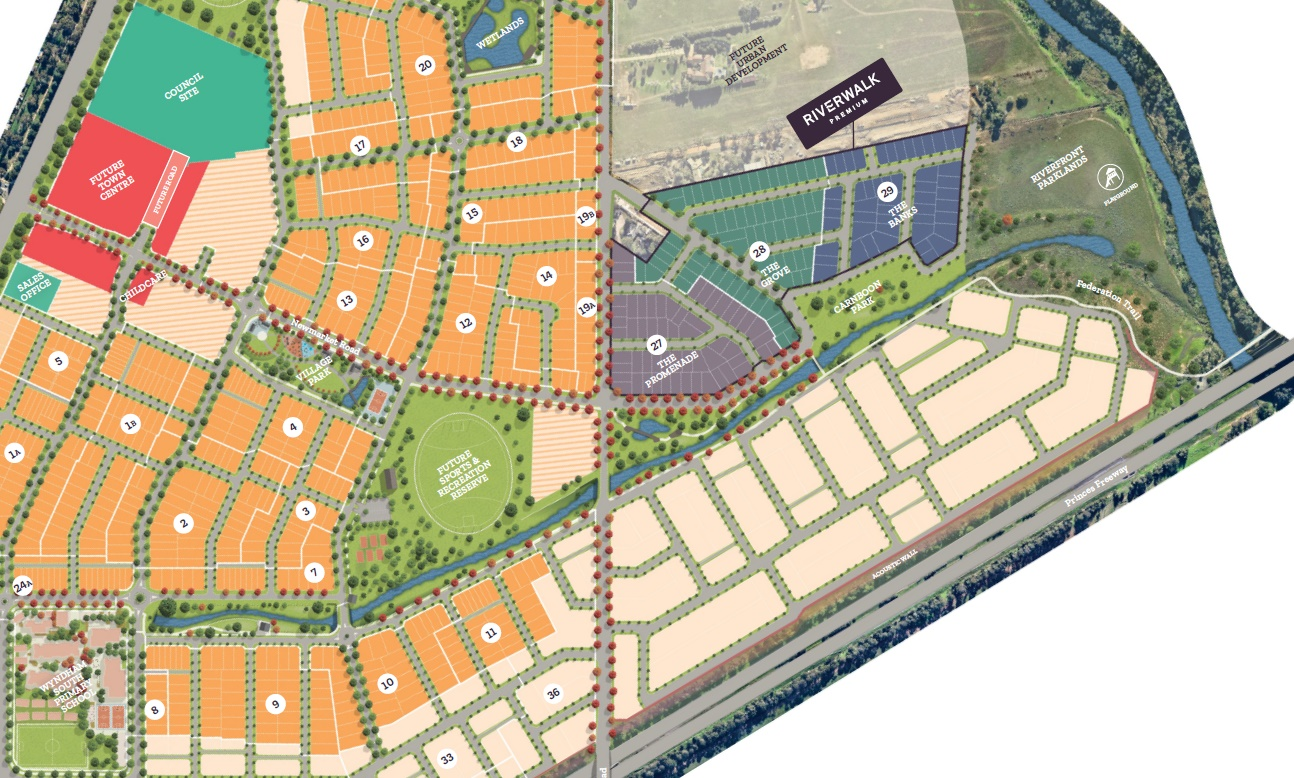 The image shows the Masterplan for Riverwalk Development, depicting its connection to Riverwalk Primary School in the South West Corner, and the Federation Trail and Werribee River in the South East Corner,