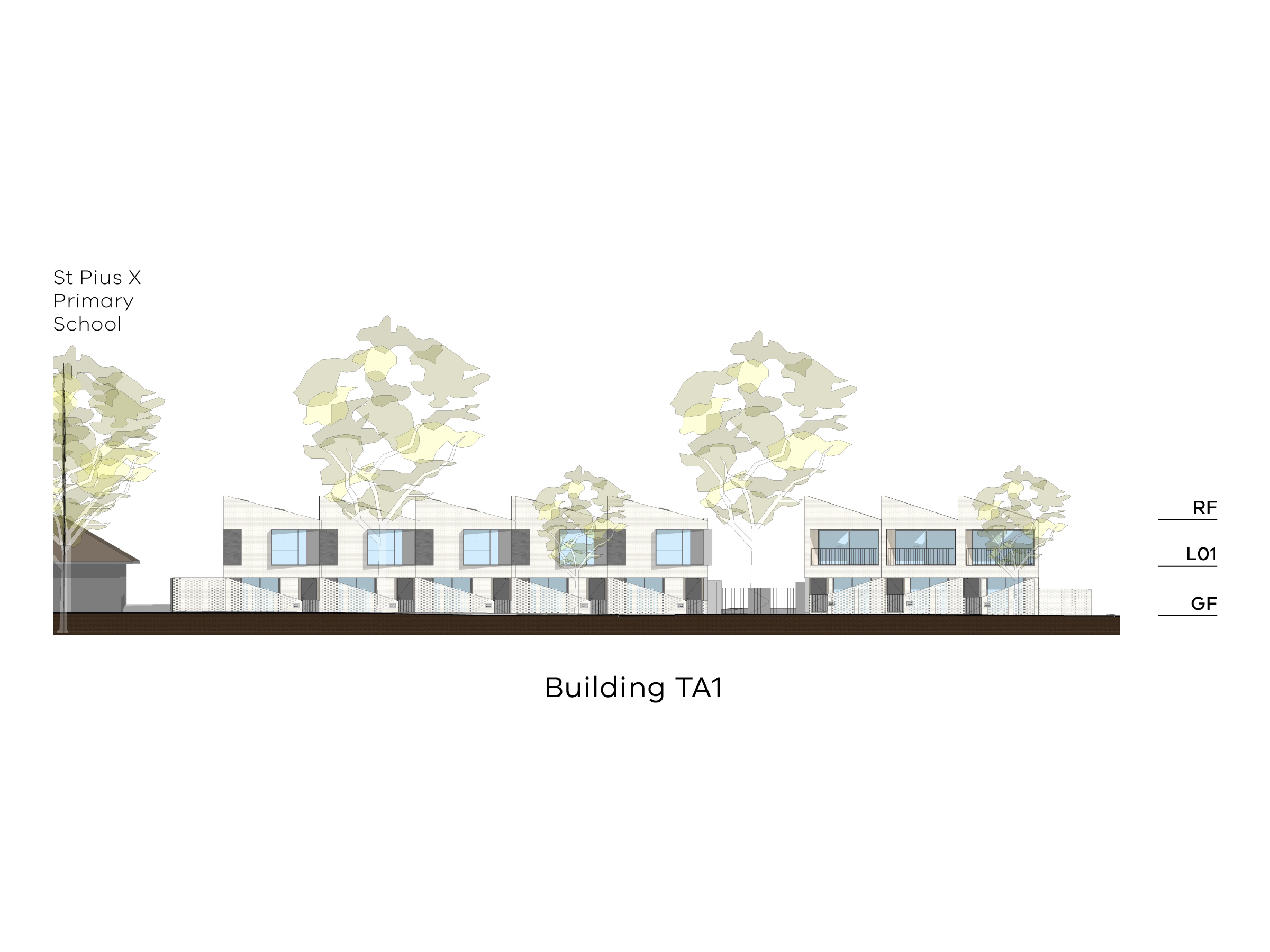 Diagram showing the height of building TA1 as seen from Altona Street. Building TA1 has a ground floor, a level 1 and a sloped roof.