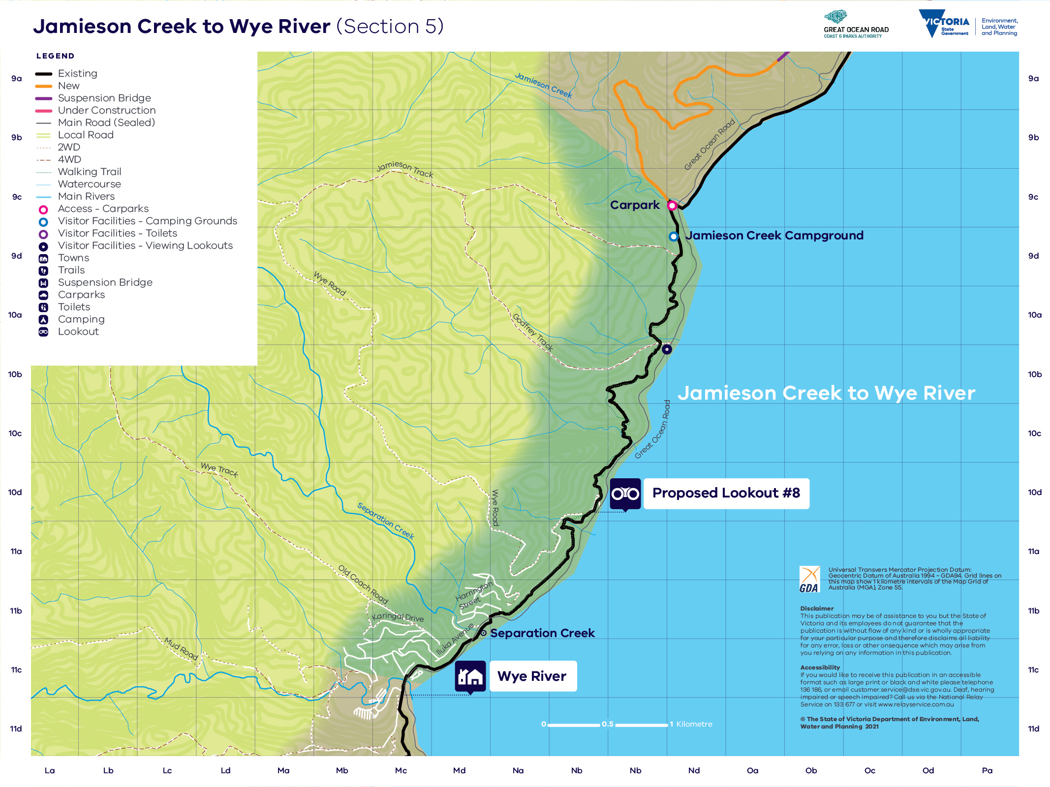 Map showing the trail route for section 5 from Jamieson Creek to Wye River