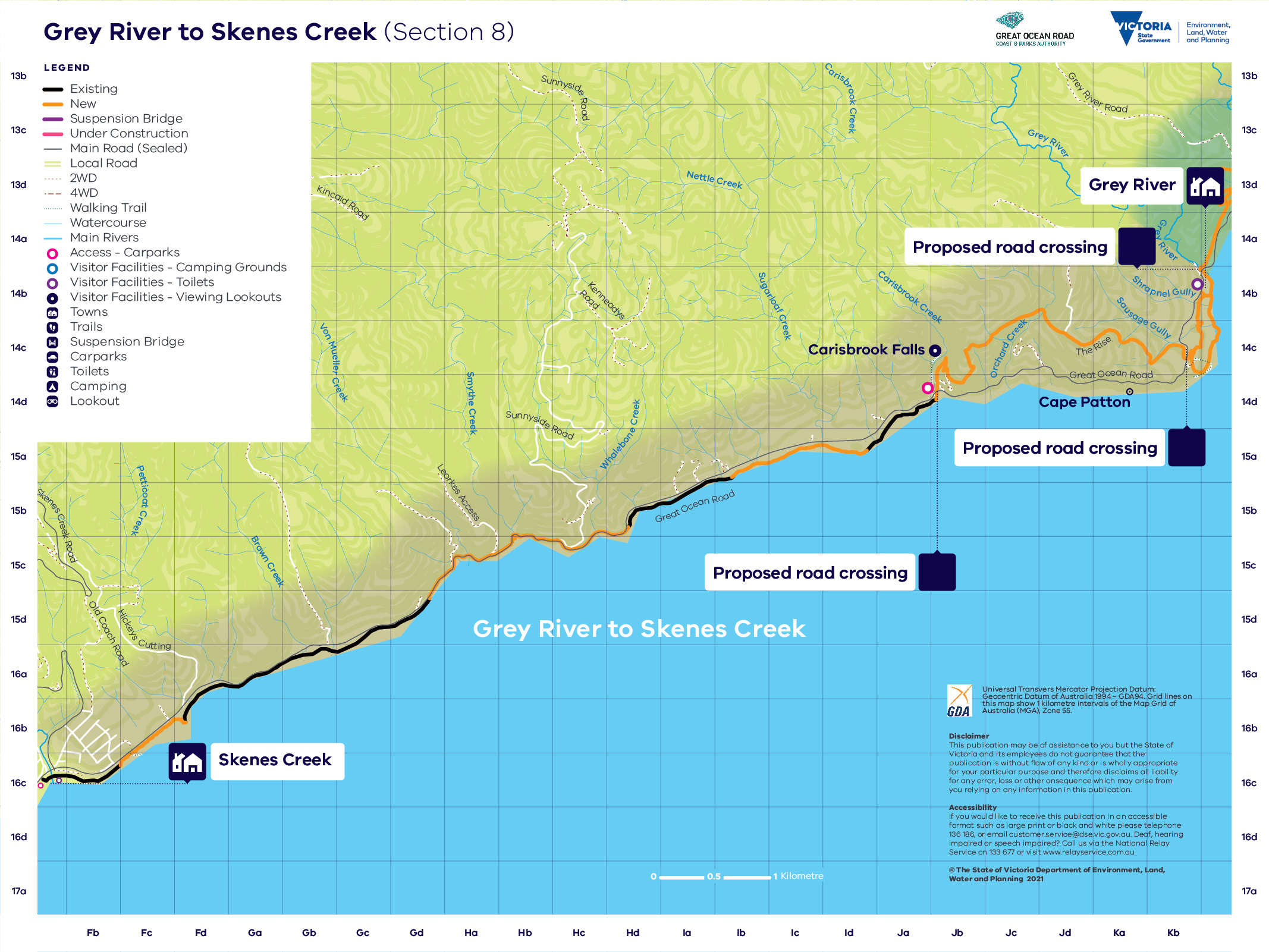 Map showing trail route for section 8 from Grey River to Skenes Creek
