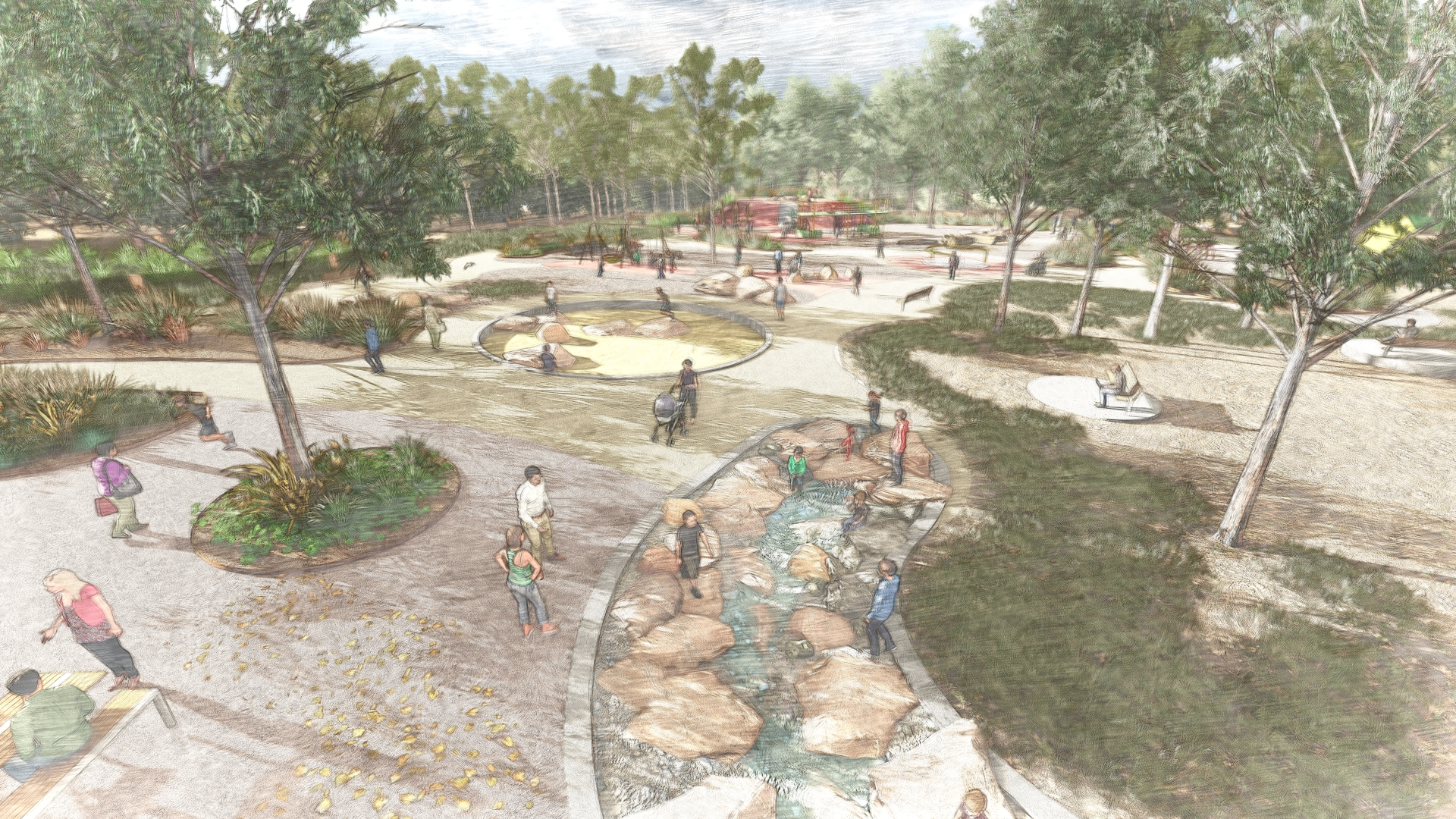 Waterplay with boulders, circular sandpit and play mound in background. Many trees and garden areas with park benches.