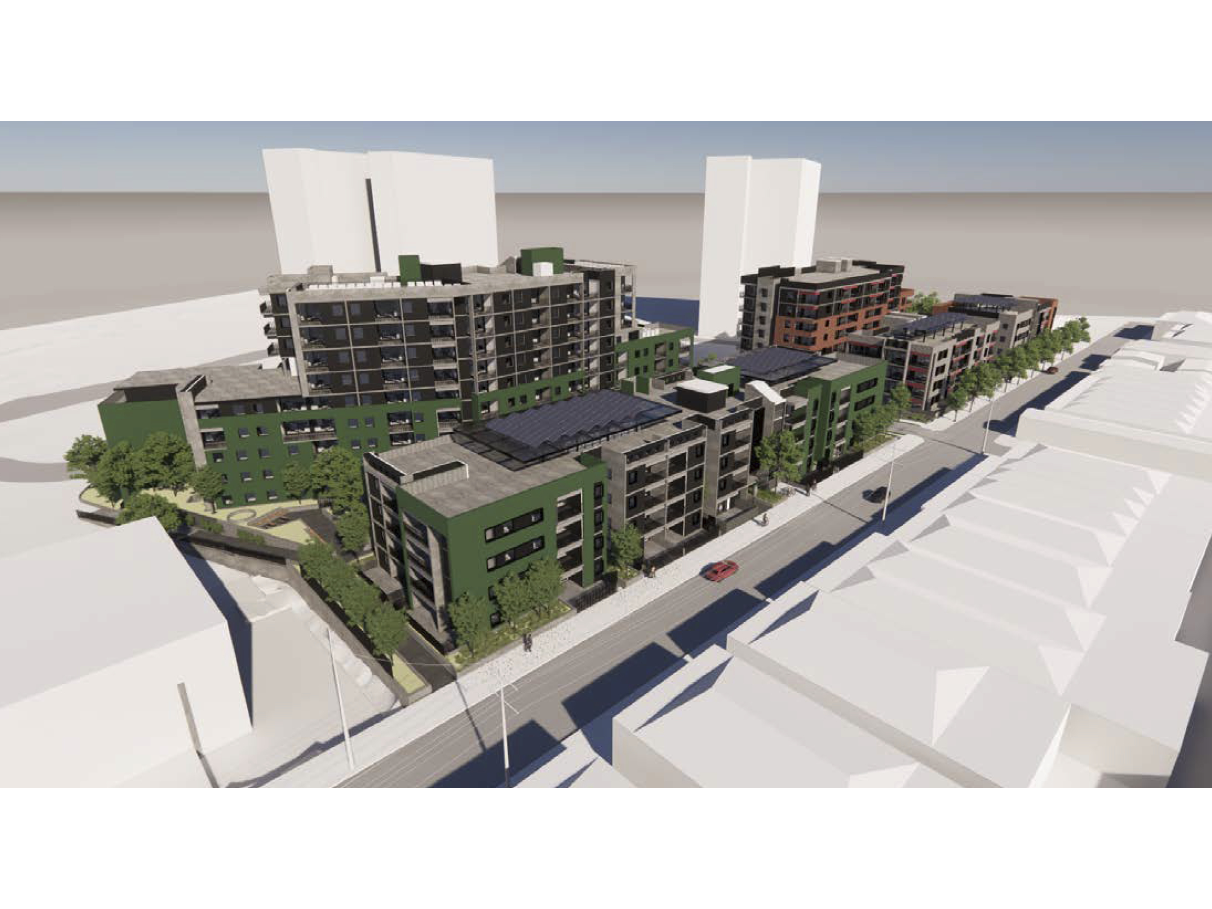 Artist impression looking southeast at the new development across Victoria Street