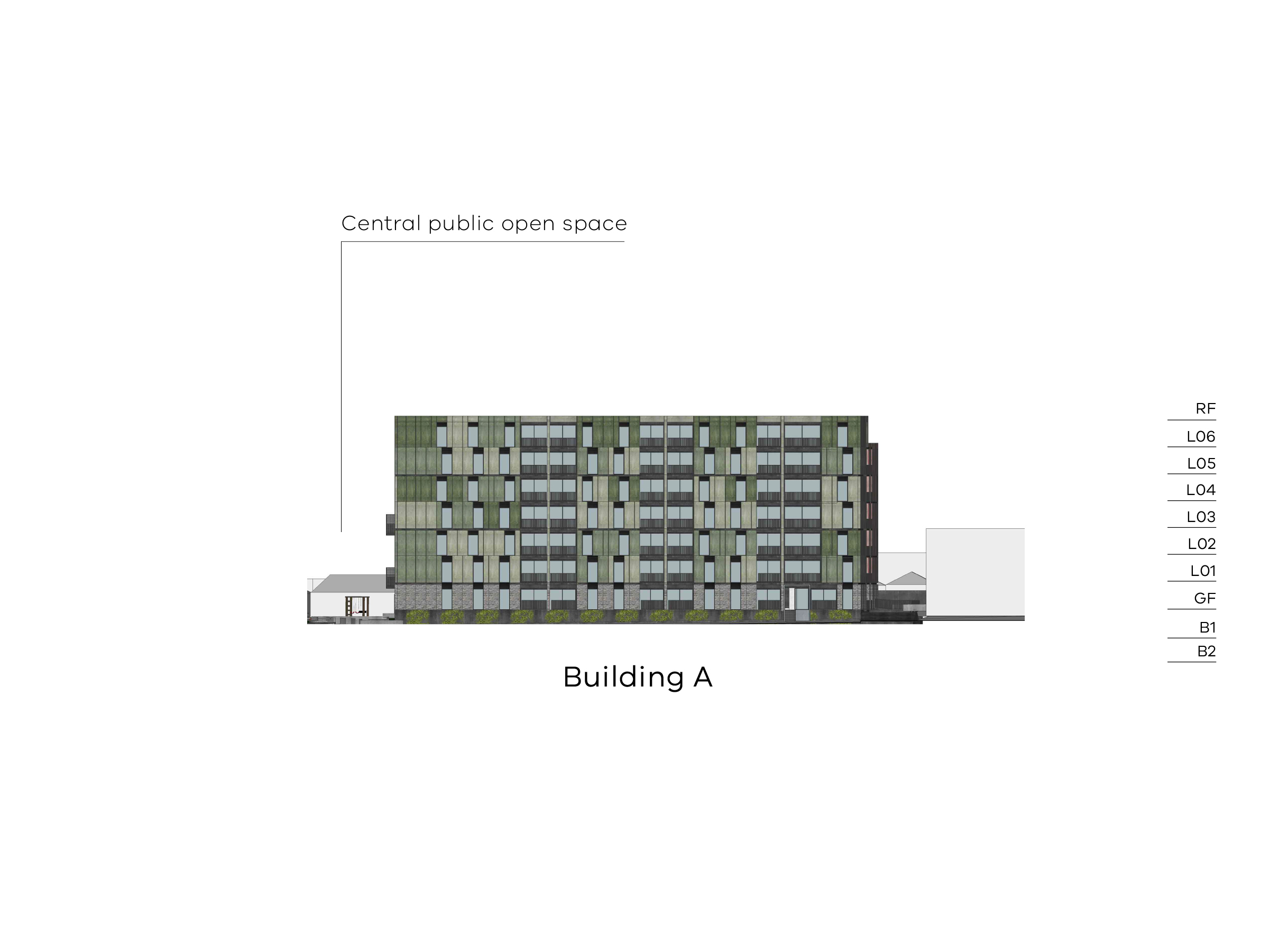 Diagram showing the heights of building A as seen from Bangs Street. Building A has 2 basement levels, a ground floor, Level 1-6 and a flat roof.