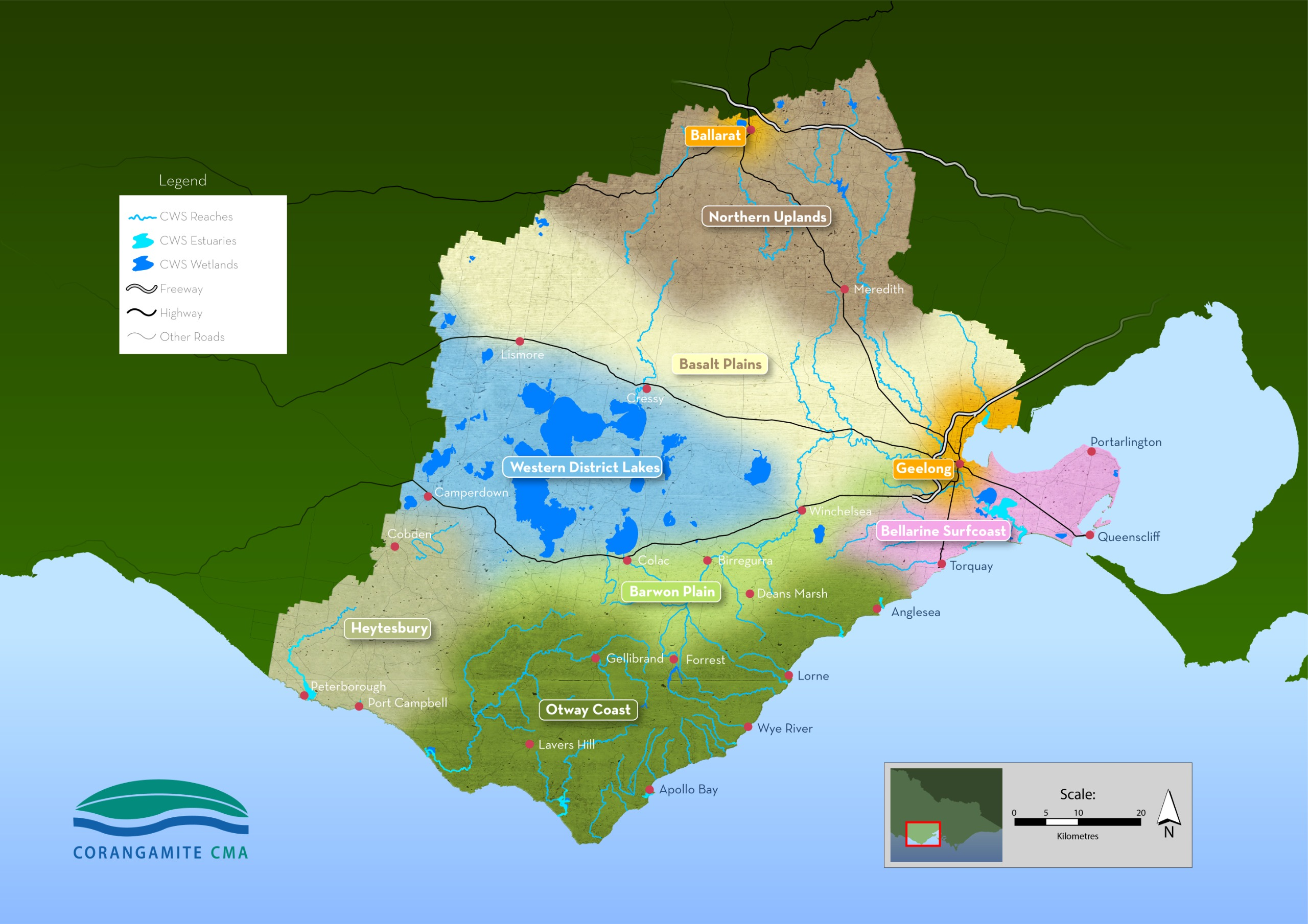 This is a map of the Corangamite region showing the nine landscape systems that make up the region