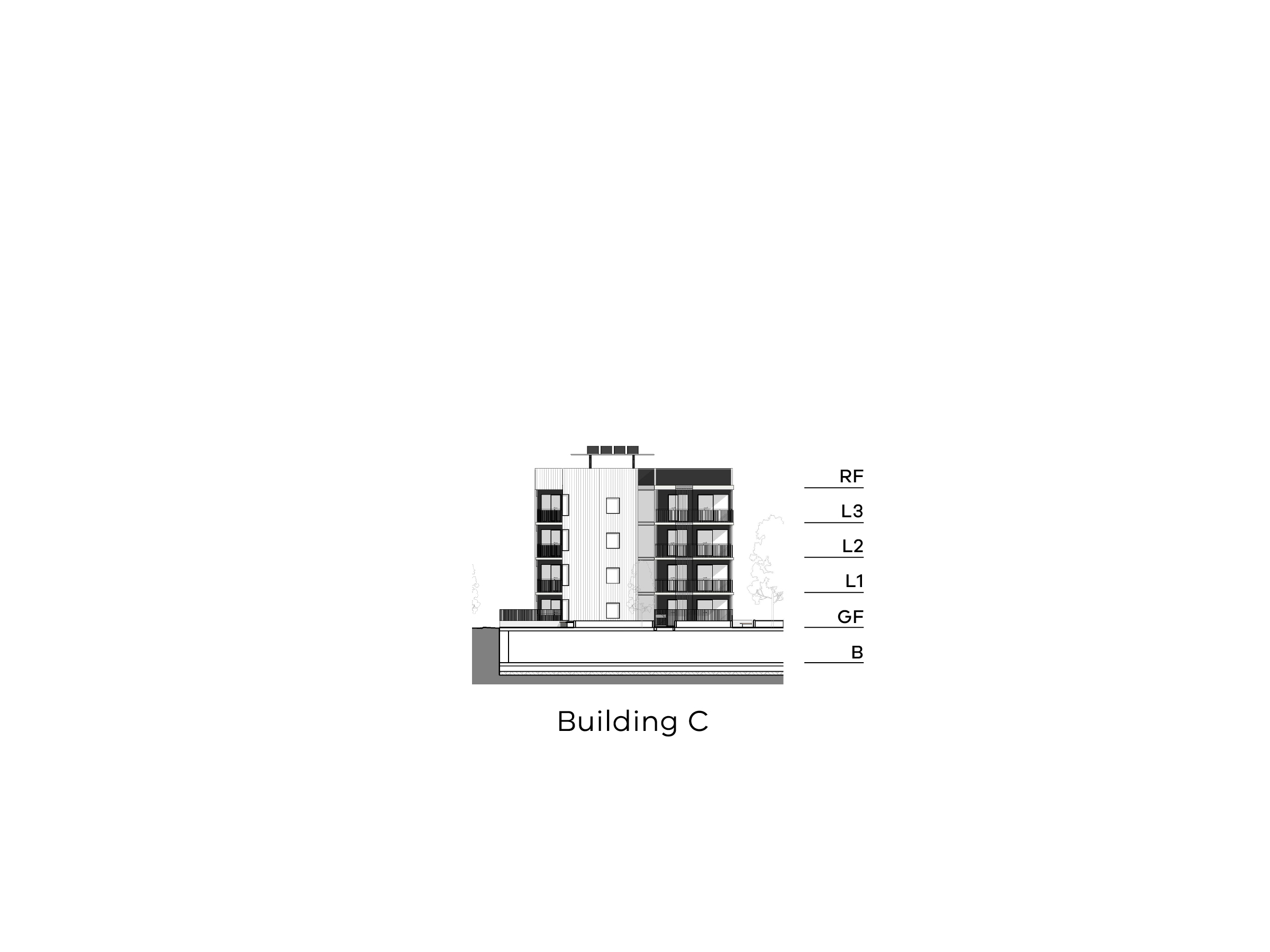 Diagram showing the height of building C as seen from Hopetoun Child Care Centre. Building C has a basement, ground floor, level 1-3 and a flat roof.