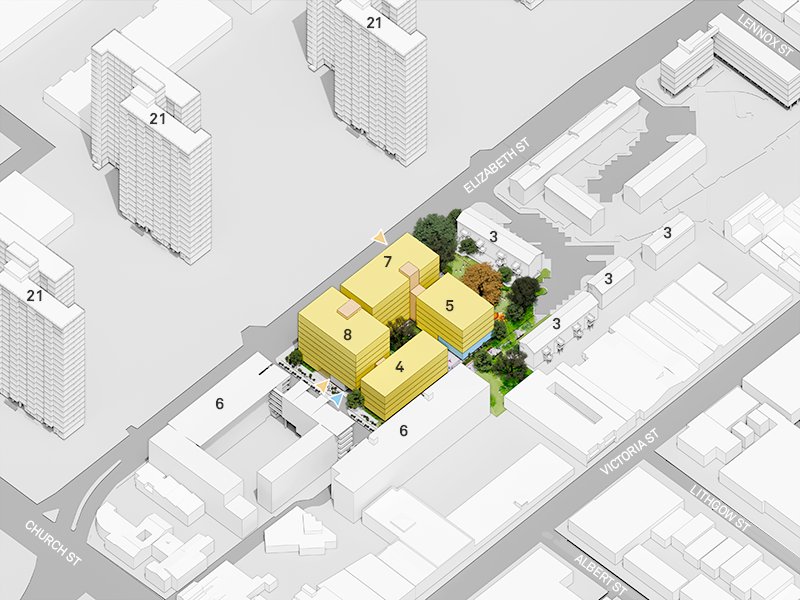 This plan shows the location and number of storeys of the proposed 4 new buildings on the corner of Elizabeth Street and Cooke Court as well as the number of storeys of the existing surrounding buildings. It's looking south. The south-east building on the corner of Elizabeth Street and Cooke Court will have 8 storeys, the south-west building along Elizabeth Street will have 7 storeys, the north-east building along Cooke Court will have 4 storeys and the north-west building nearest to 5 Williams Court will have 5 storeys. The existing buildings on the south side of Elizabeth Street each have 21 storeys, 175 Elizabeth Street, 108 Lewis Court and 3 Cooke Court each have 6 storeys and 3, 4, 5 and 7 Williams Court have 3 storeys each.