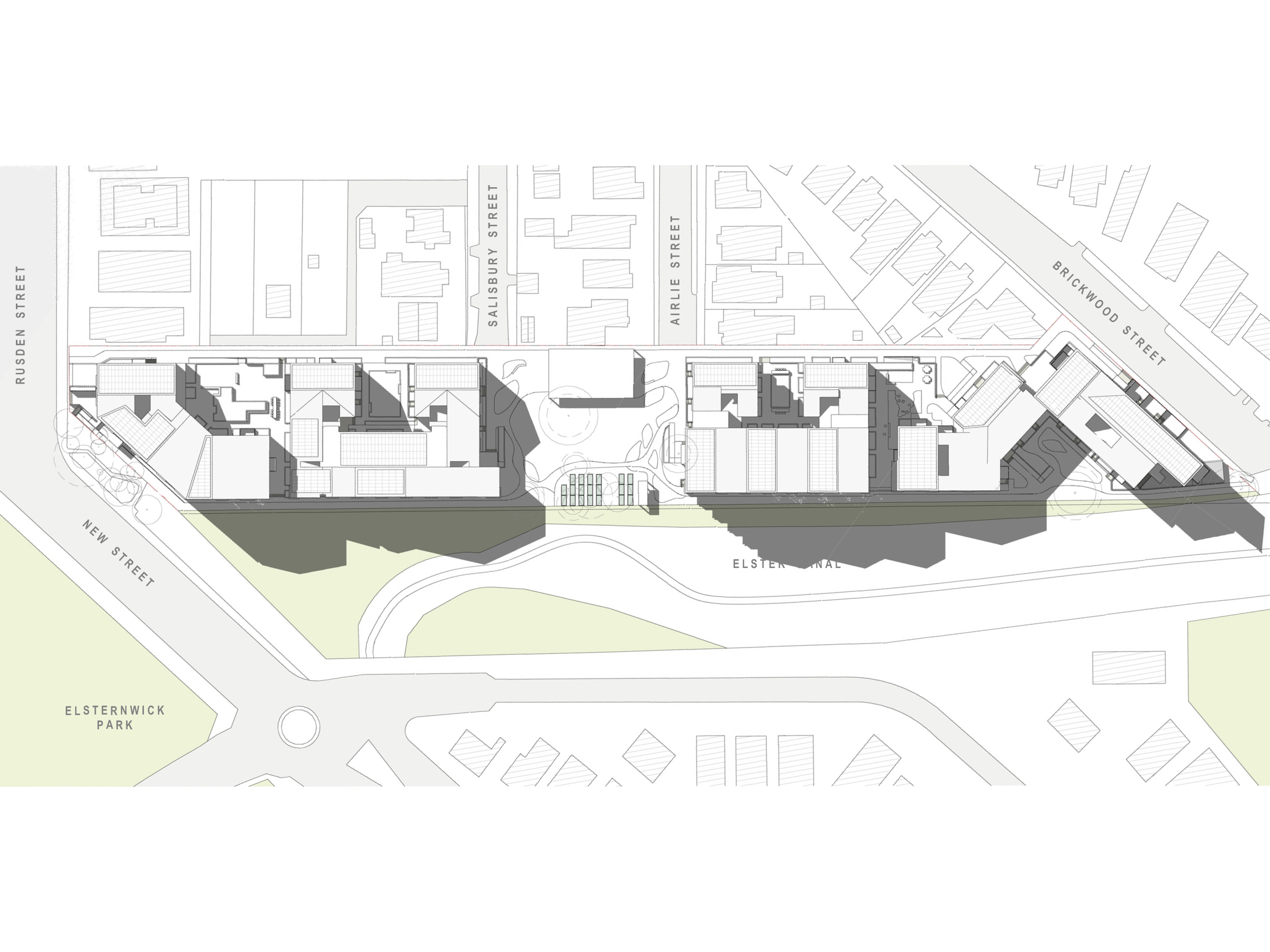 Diagram showing the shadows created by the new development in June at 12pm