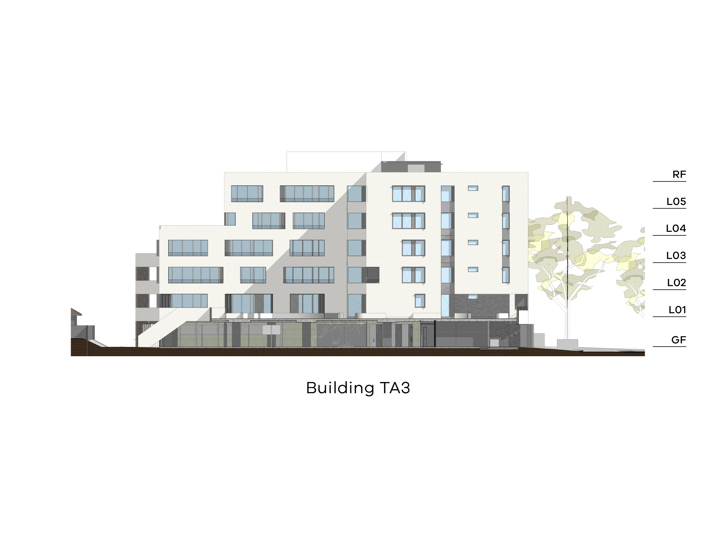 Diagram showing the height of building TA3 as seen through the podium looking south. Building TA3 has different heights with a ground level, level 1-3 and a flat roof on the eastern side and a ground floor, level 1-5 and a flat roof on the western side.