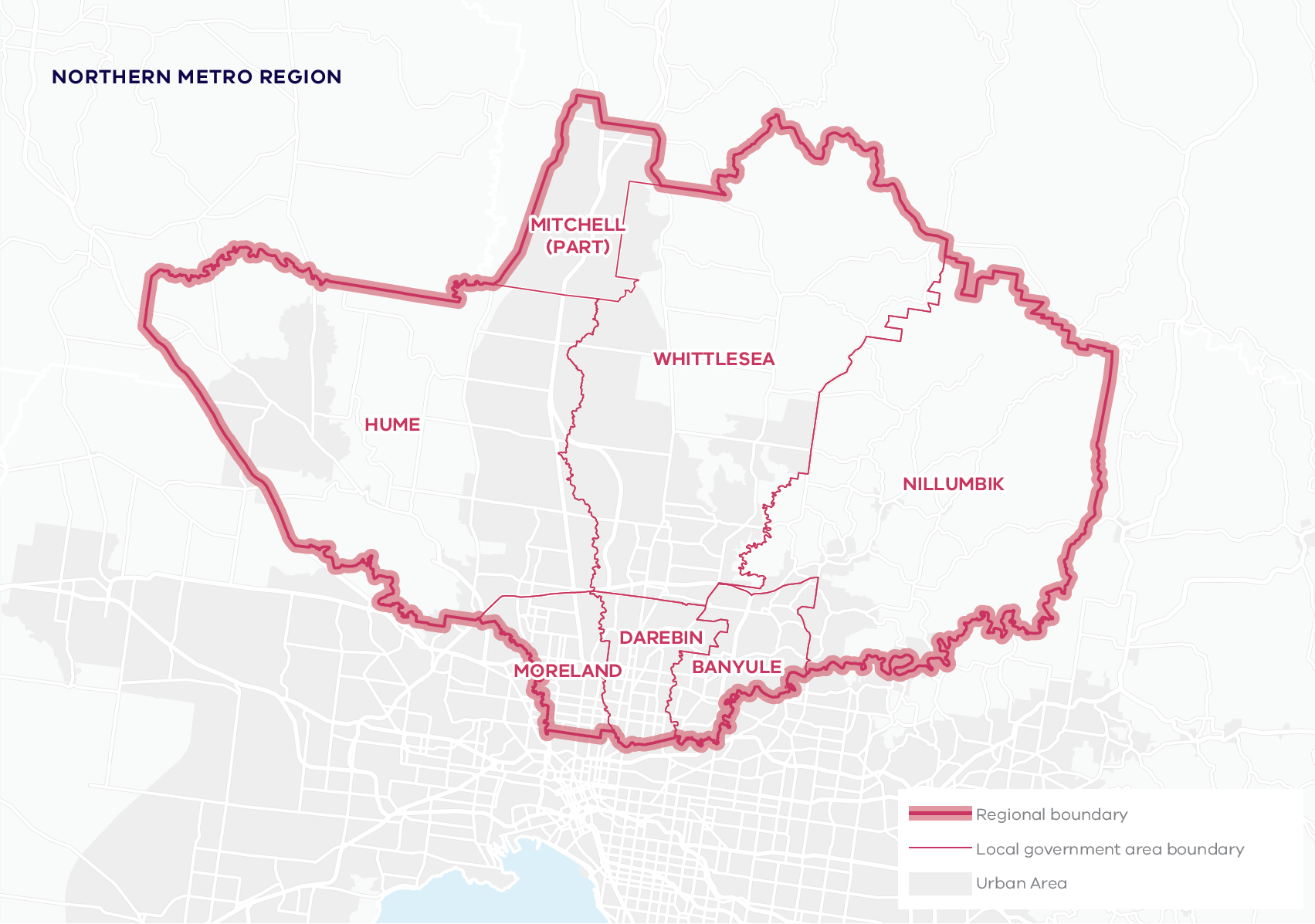 This map shows the boundary for the Northern Metro region and local government areas. The Northern Metro region includes Banyule, Darebin, Hume, Mitchell, Moreland, Nillumbik and Whittlesea local government areas.