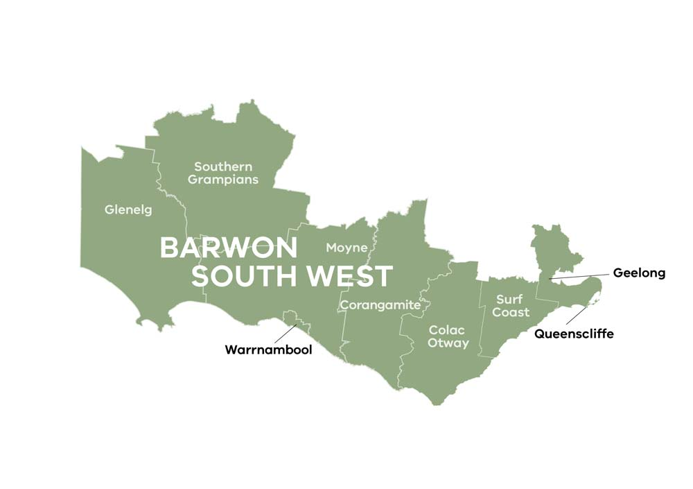 An image of the Local Government Areas in the Barwon South West region. These local government areas include Glenelg, Southern Grampians, Moyne, Warrnambool, Corangamite, Colac-Otway, Surf Coast, Queenscliffe and Geelong.