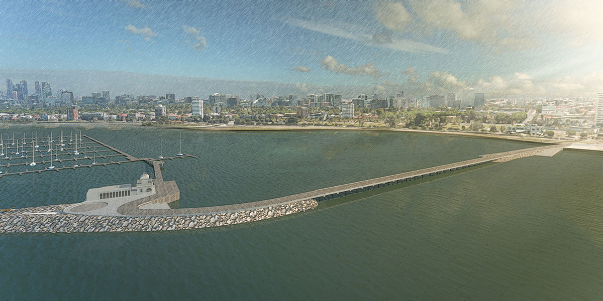 ​Aerial view of the curved pier alignment looking towards the city.