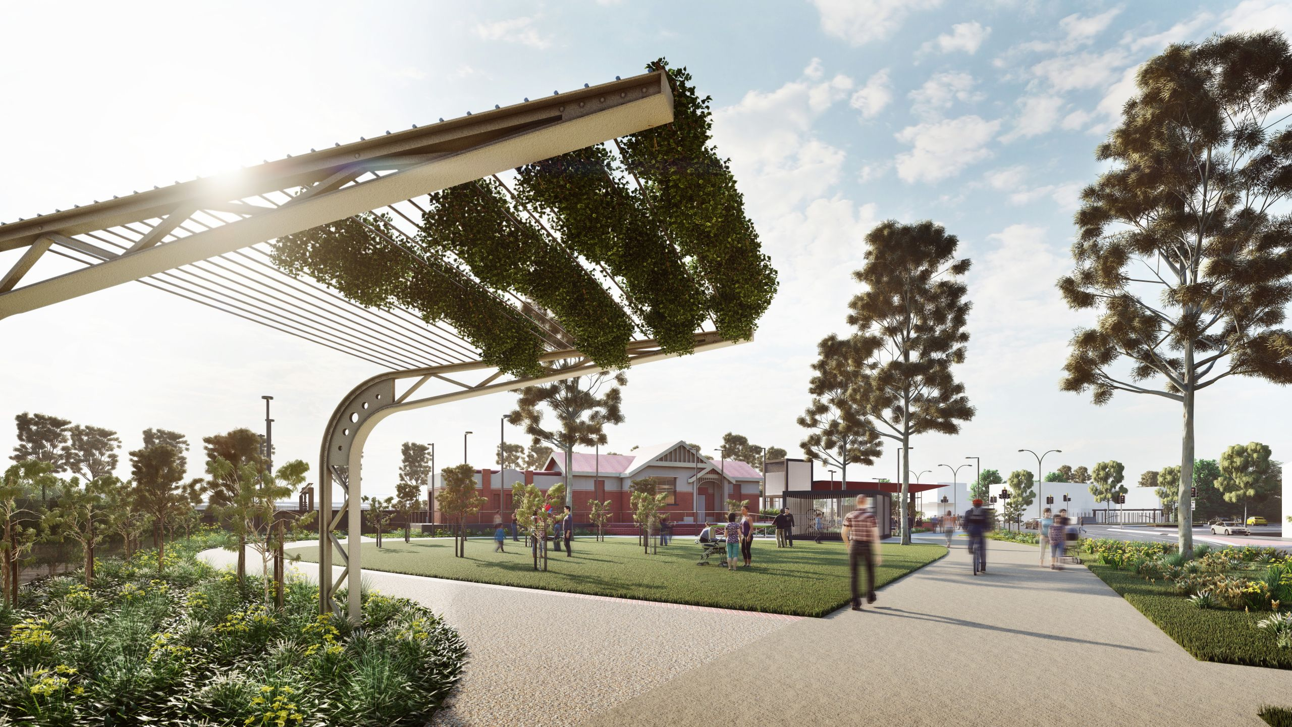 Landscaping in the precinct will feature repurposed station materials