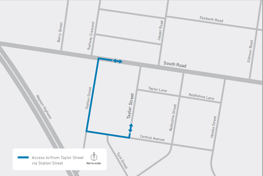 Map showing access to and from Taylor Street via Station Street