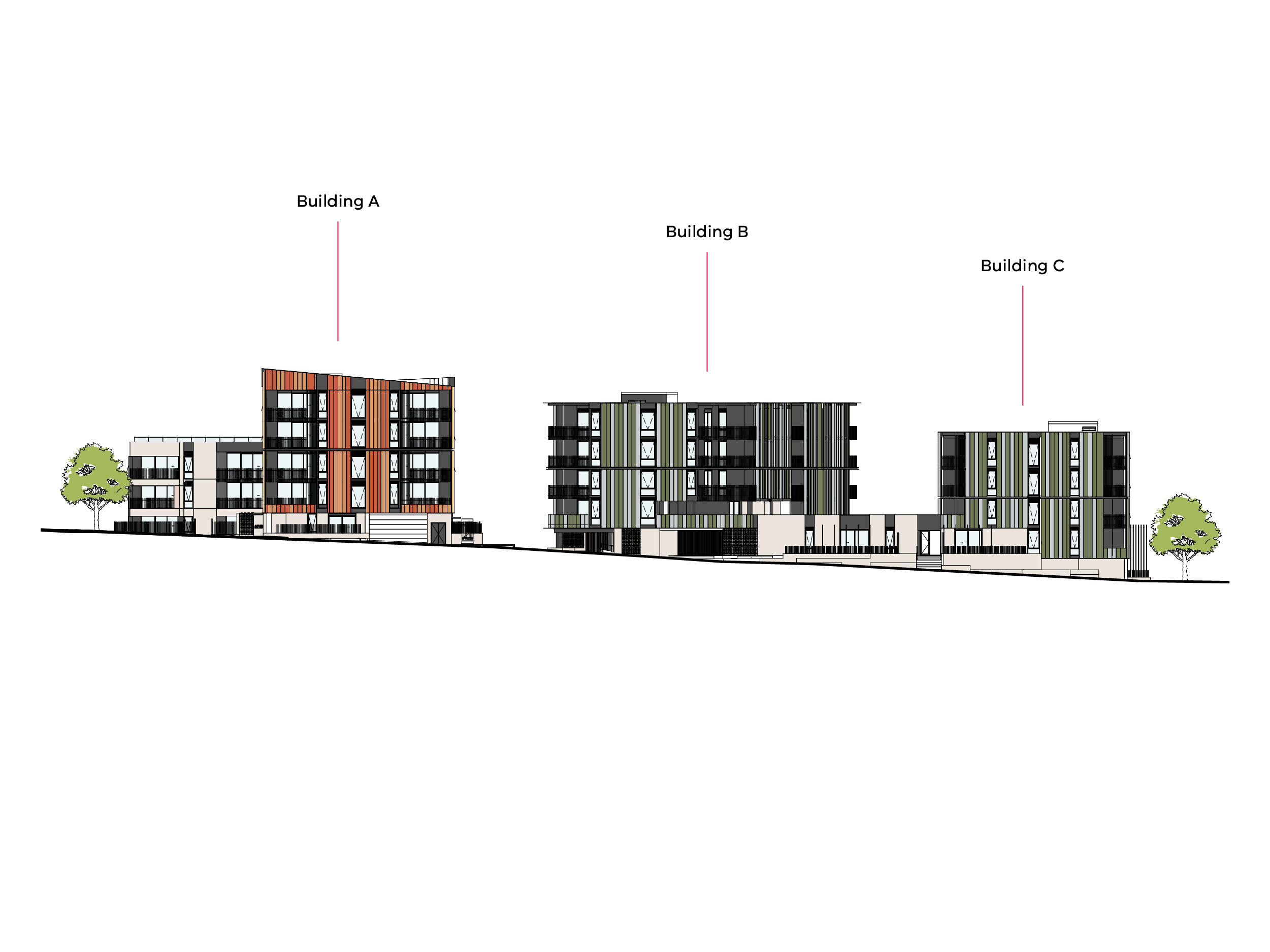 Artist impression of the heights of the buildings looking towards Patterson Reserve while standing on Bills Street