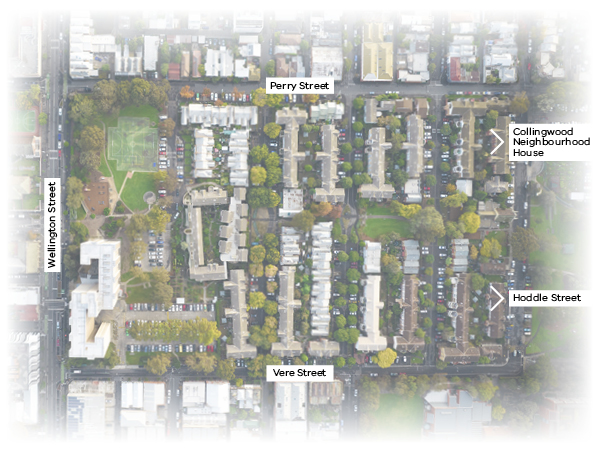 Aerial image showing the Collingwood housing site with Wellington Street on the west, Perry Street to the north, Vere Street to the south and Collingwood Neighbourhood House and Hoddle Street to the east