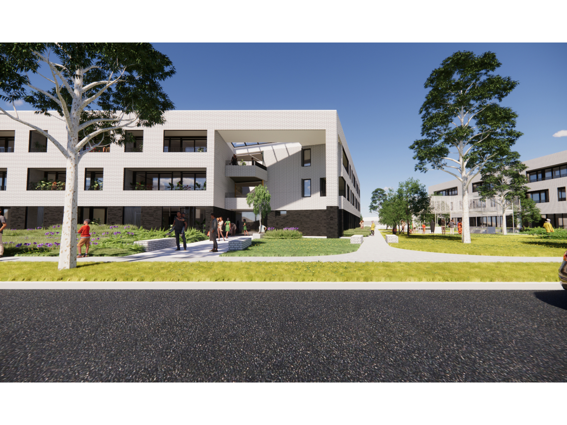 Artist impression looking at buildings TA2 and TA3 on the new development as seen from Tarakan Street
