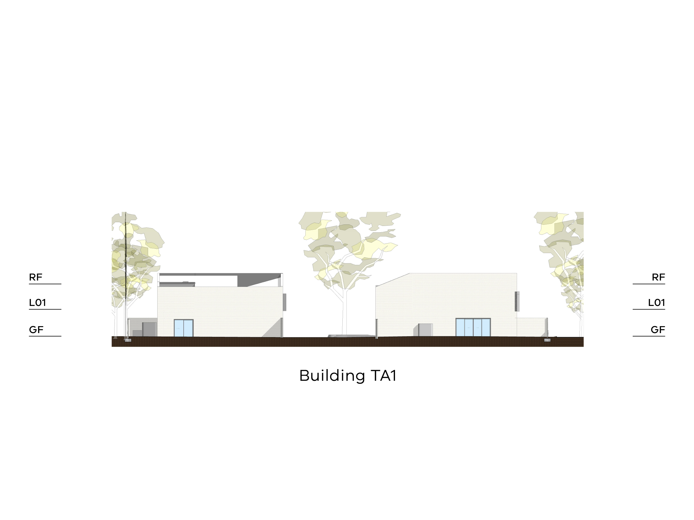 Diagram showing the height of building TA1 as seen from the site looking towards Tarakan Street. Building TA1 has a ground floor, a level 1 and a sloped roof.