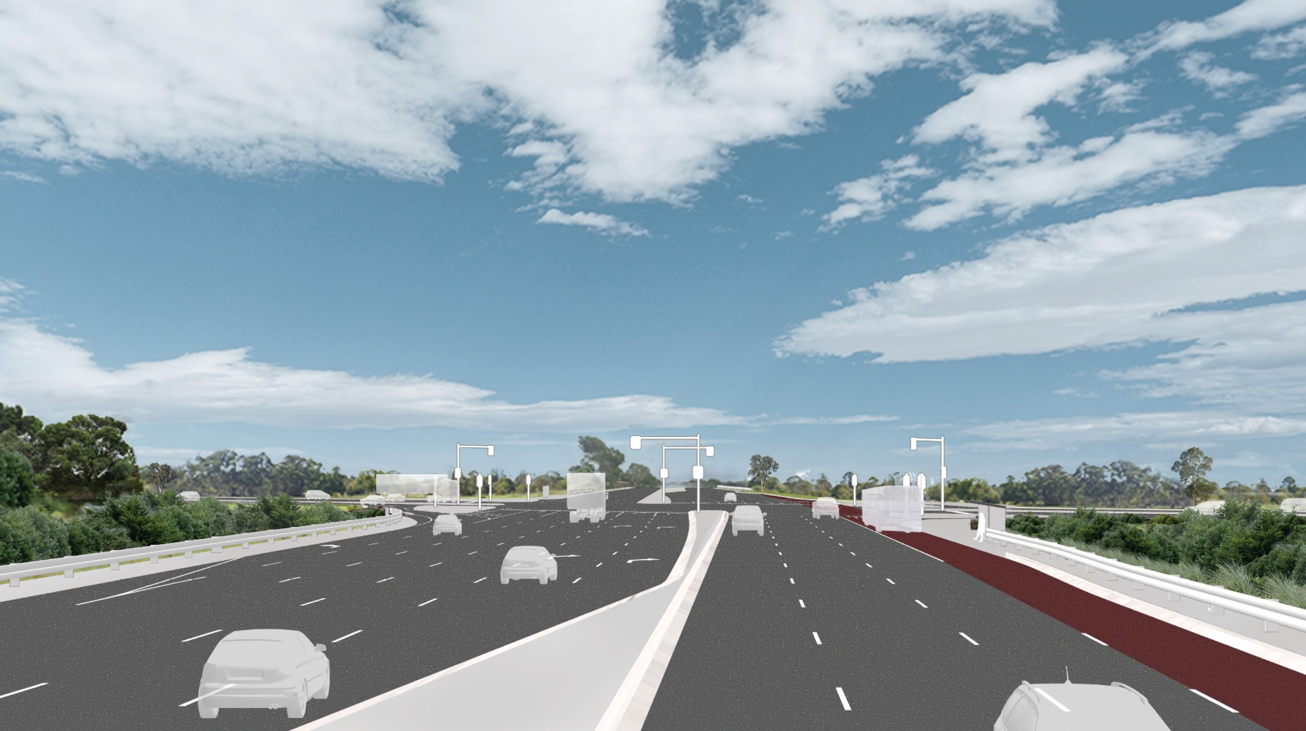 Artist's impression of cars driving through the Cranbourne-Frankston Road intersection 15 years after project completion