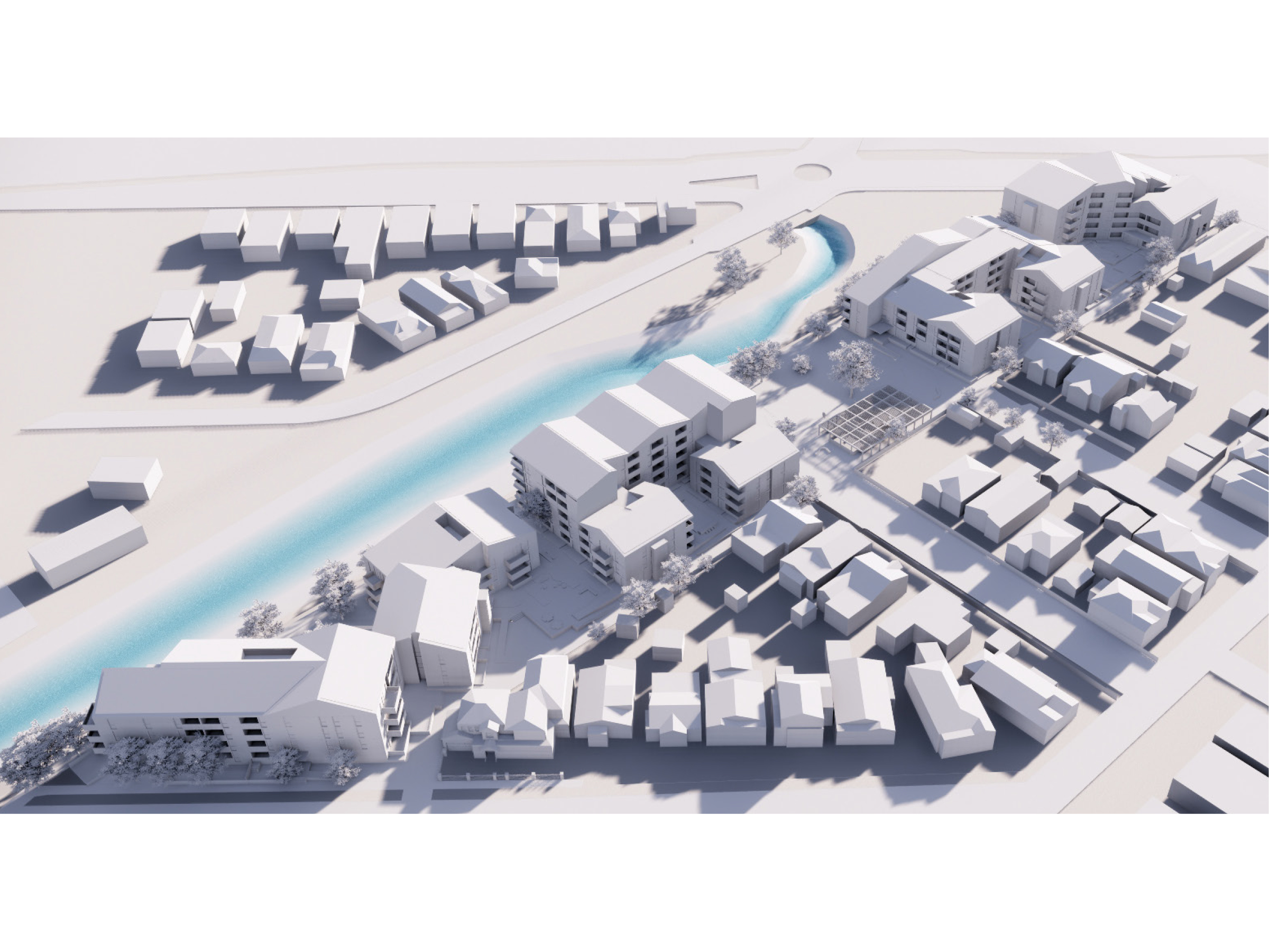 Artist impression showing an aerial view of the new development looking north-west from Brickwood Street