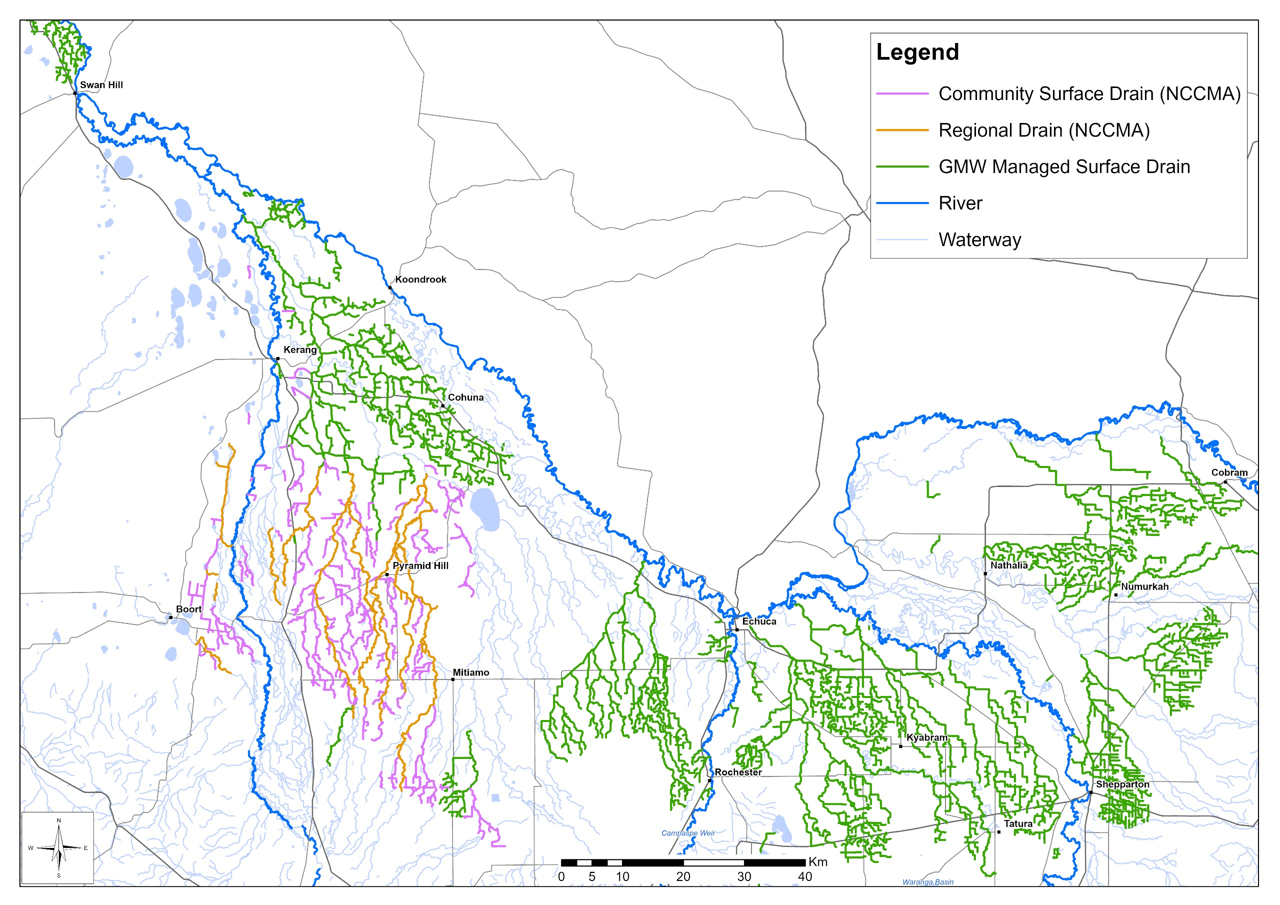 Map of the major irrigation drainage systems in the Goulburn Murray Irrigation District