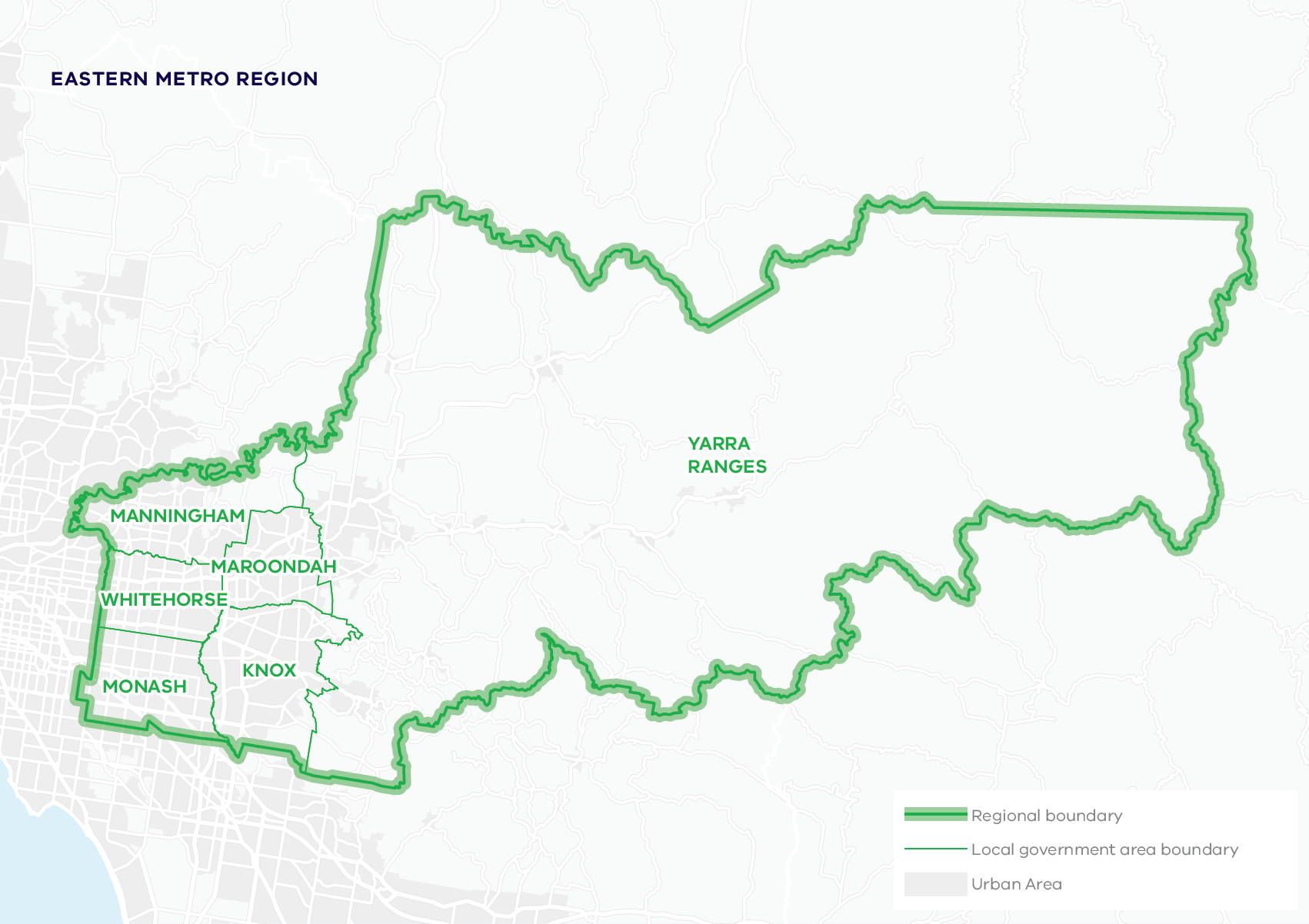This map shows the boundary for the Eastern Metro region and local government areas. The Eastern Metro region includes Knox, Manningham, Maroondah, Monash, Whitehorse and Yarra Ranges local government areas.