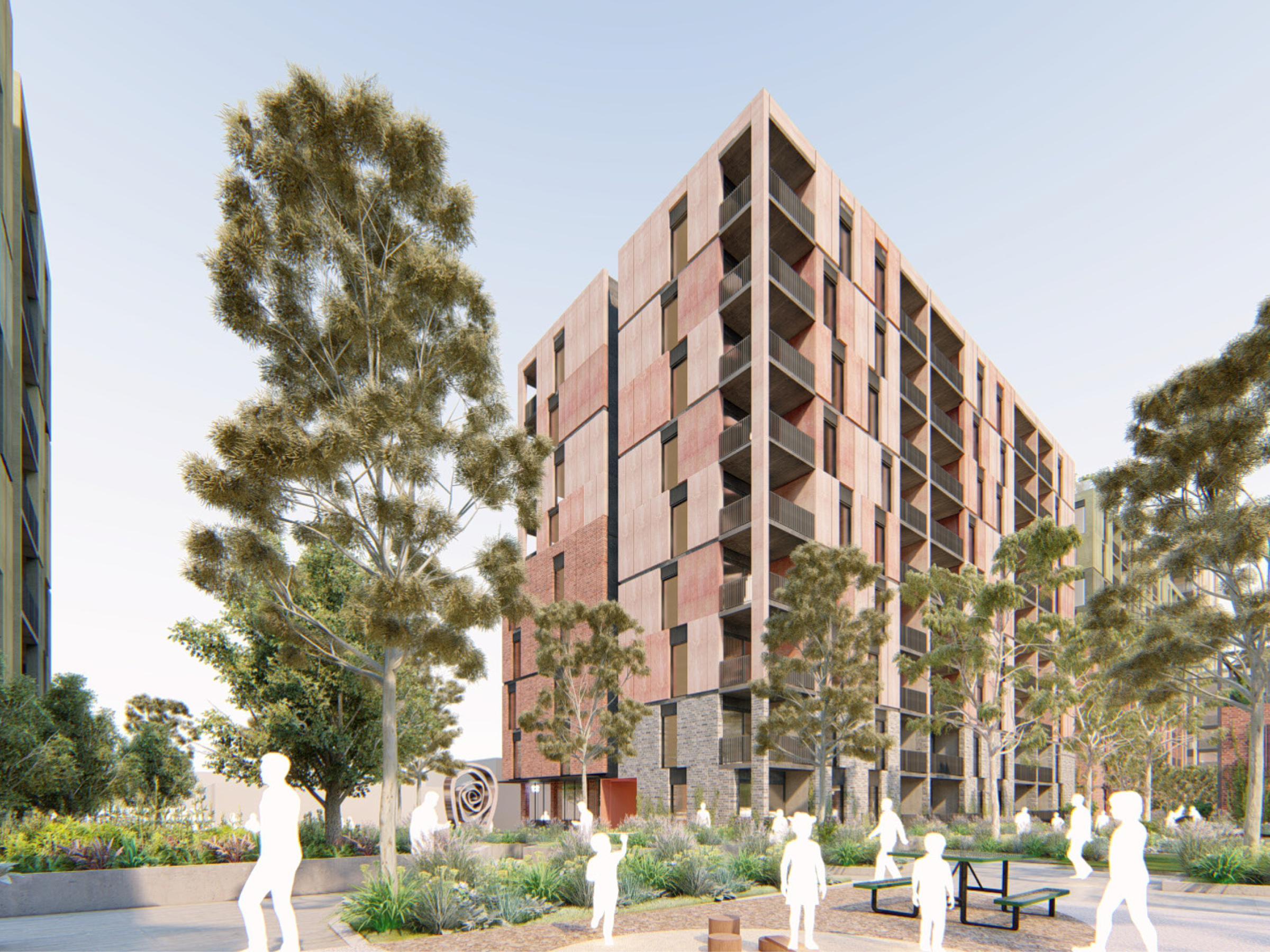 Artist impression looking at the new development from Central Park towards Bangs Street