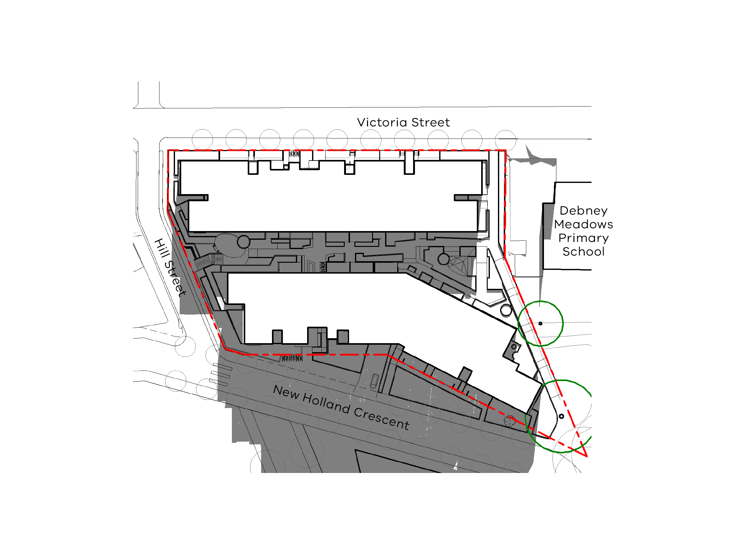 Diagram showing the shadows created by the north site of the new development in September at 3pm